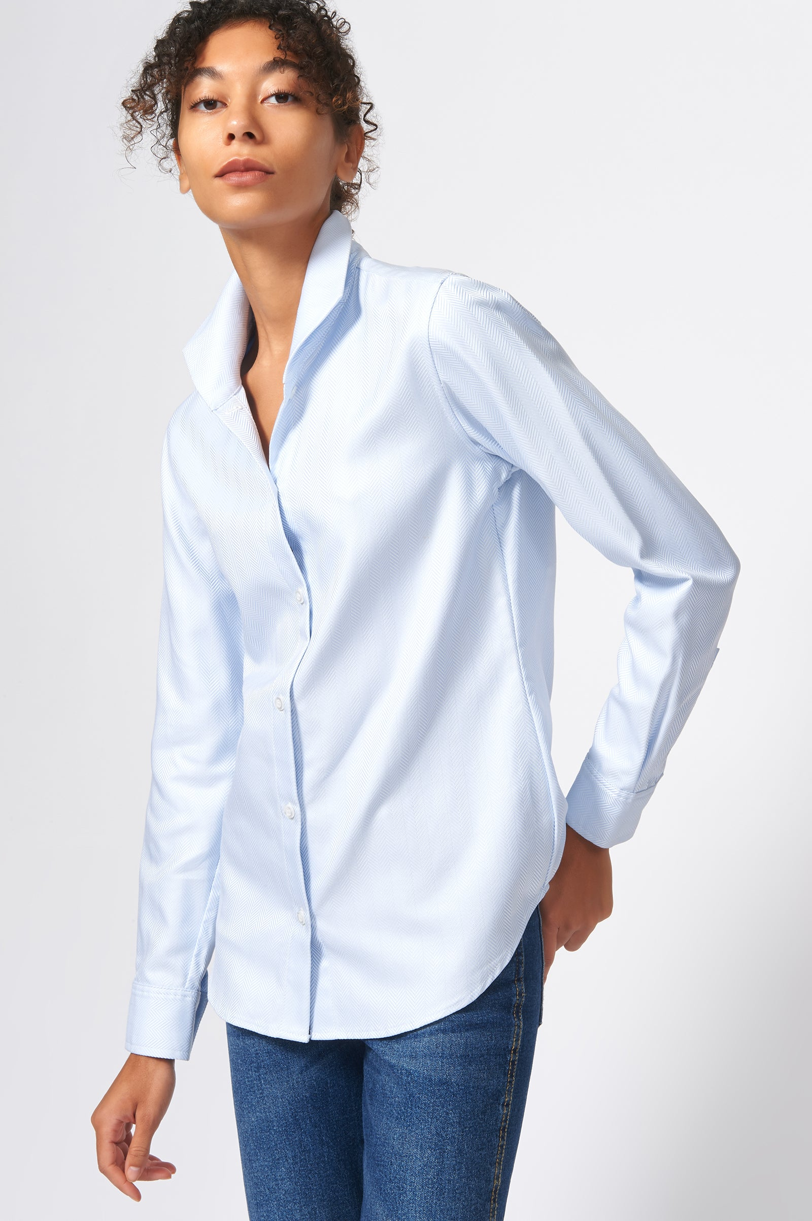 Kal Rieman Ginna Tailored Shirt in French Blue Herringbone on Model Front Side View
