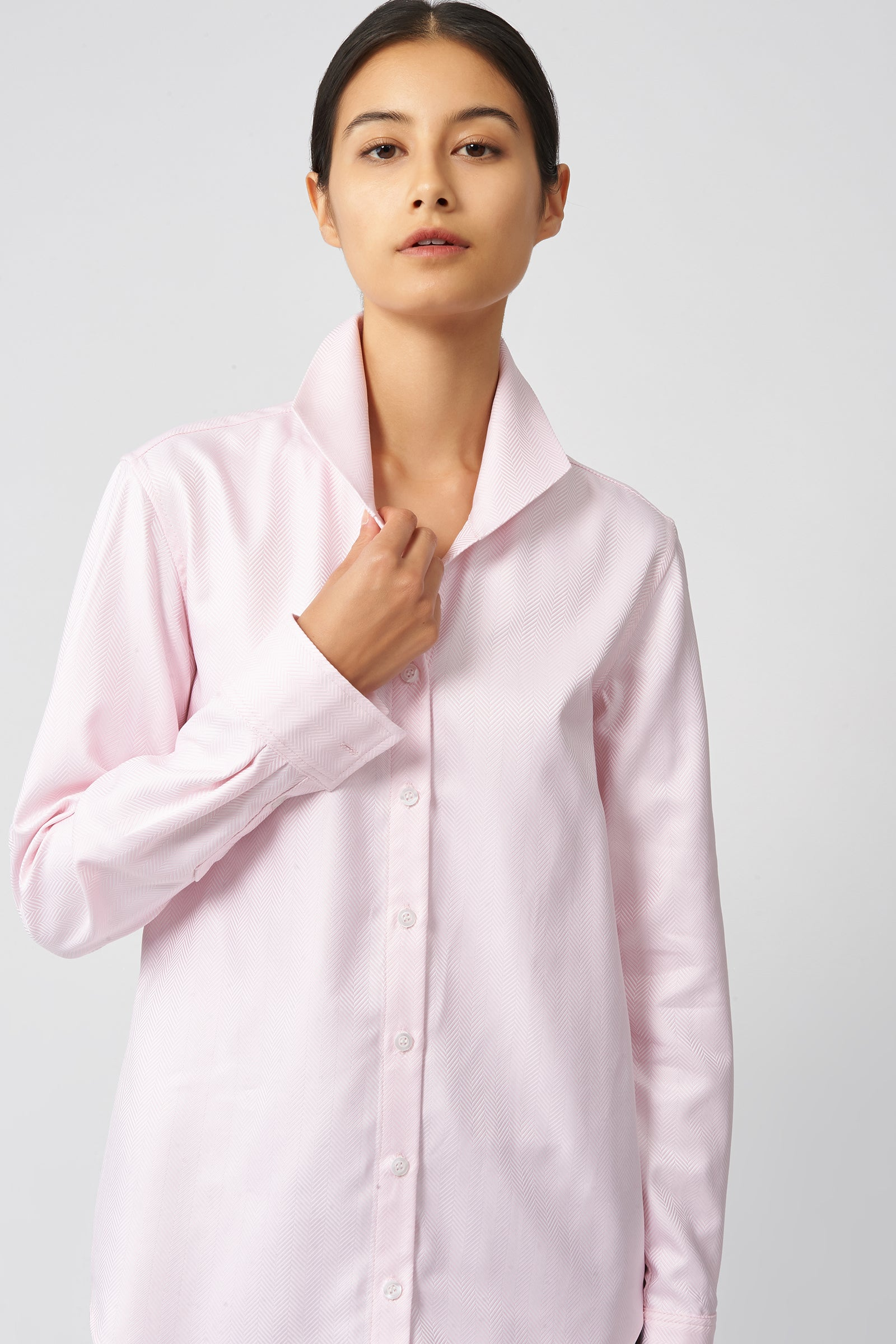 Kal Rieman Ginna Tailored Shirt in Pink Herringbone on Model Front Detail View