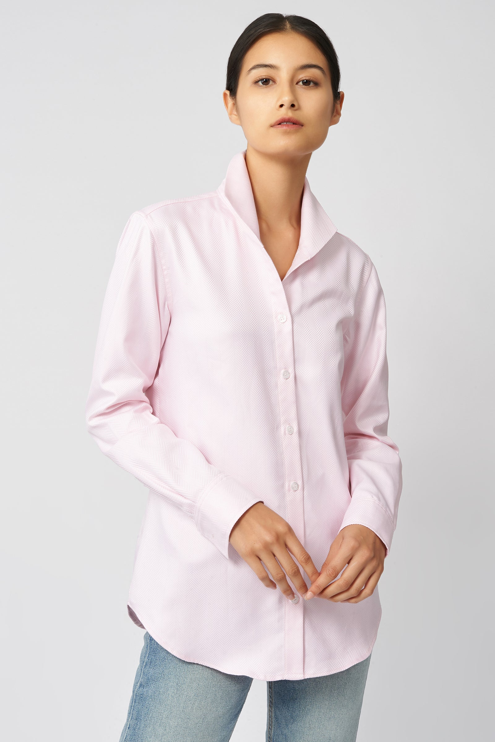 Kal Rieman Ginna Tailored Shirt in Pink Herringbone on Model Front View