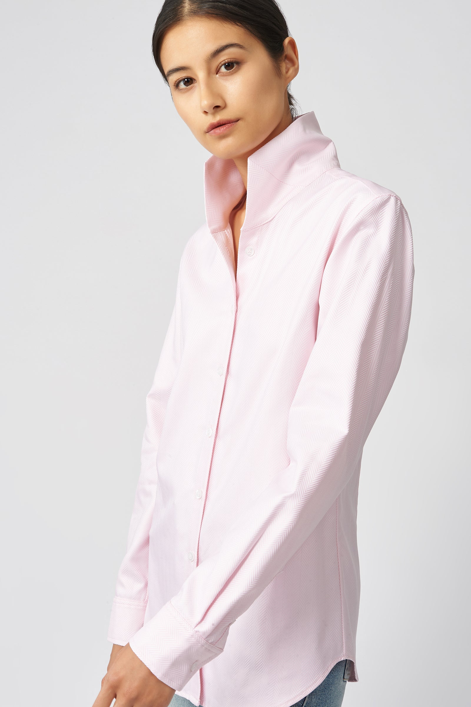 Kal Rieman Ginna Tailored Shirt in Pink Herringbone on Model Front Side View