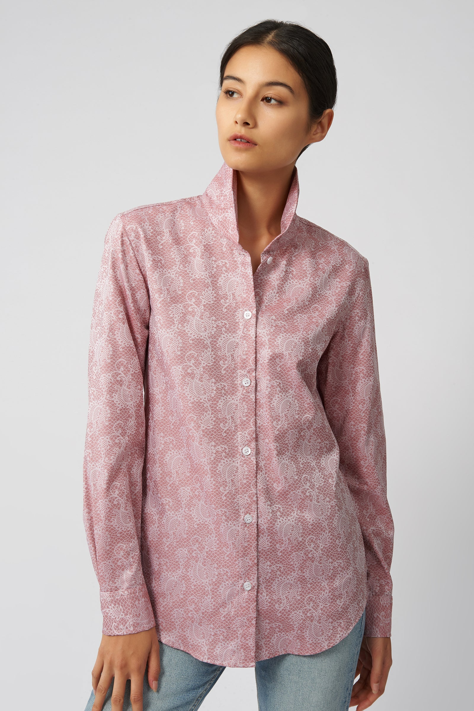 Kal Rieman Ginna Tailored Shirt in Rose Floral Jacquard on Model Front View