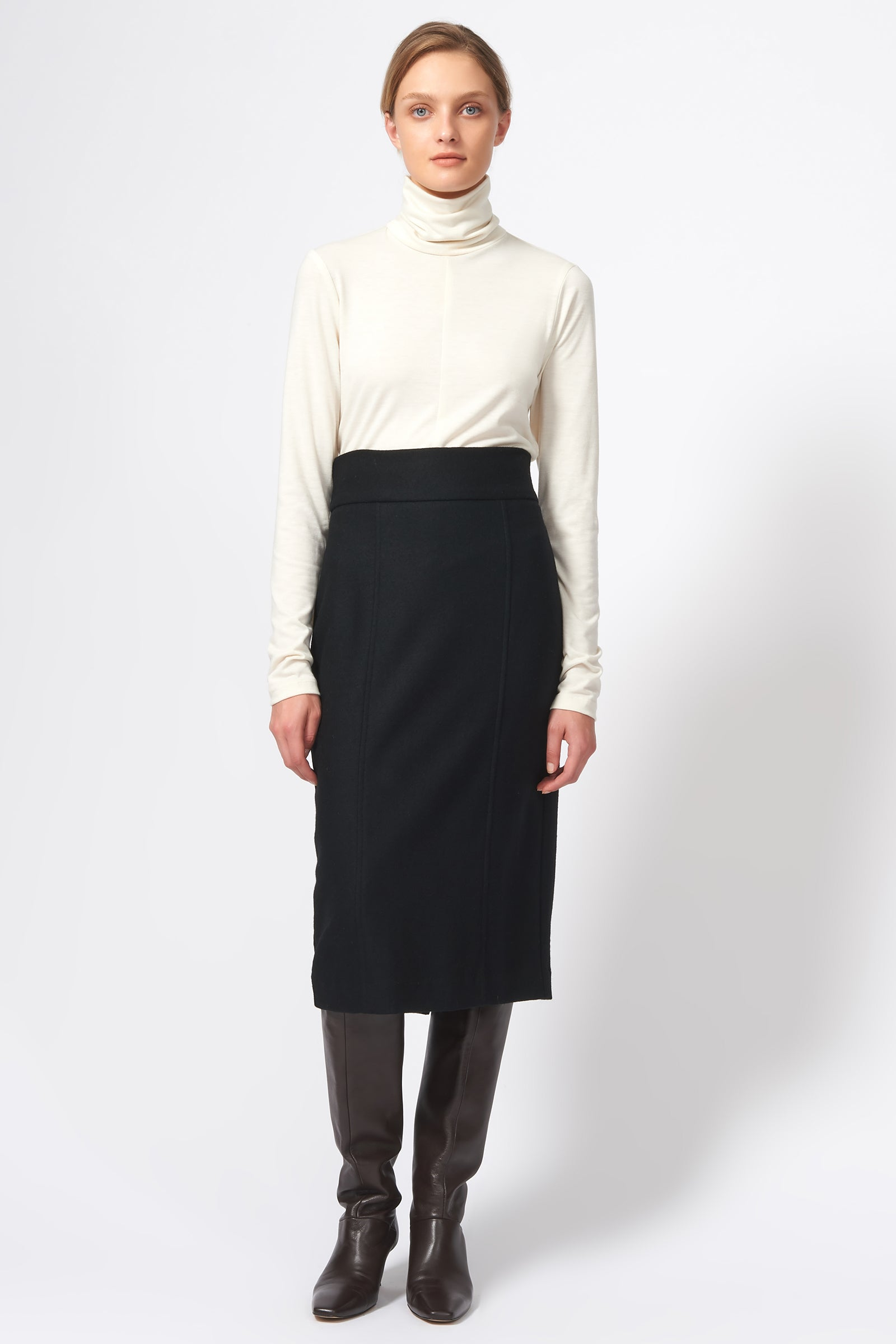 Kal Rieman High Waisted Pencil Skirt in Black on Model Full Front View