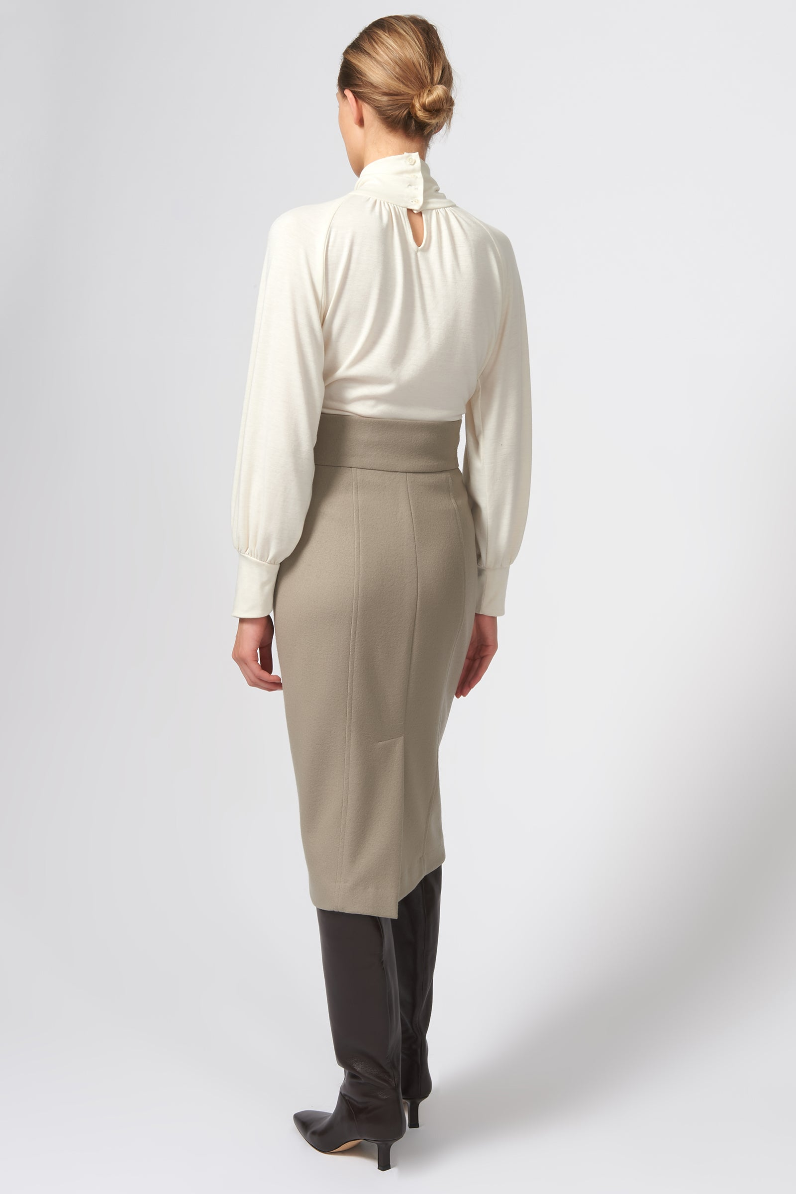 Kal Rieman High Waisted Pencil Skirt in Taupe on Model Full Back View
