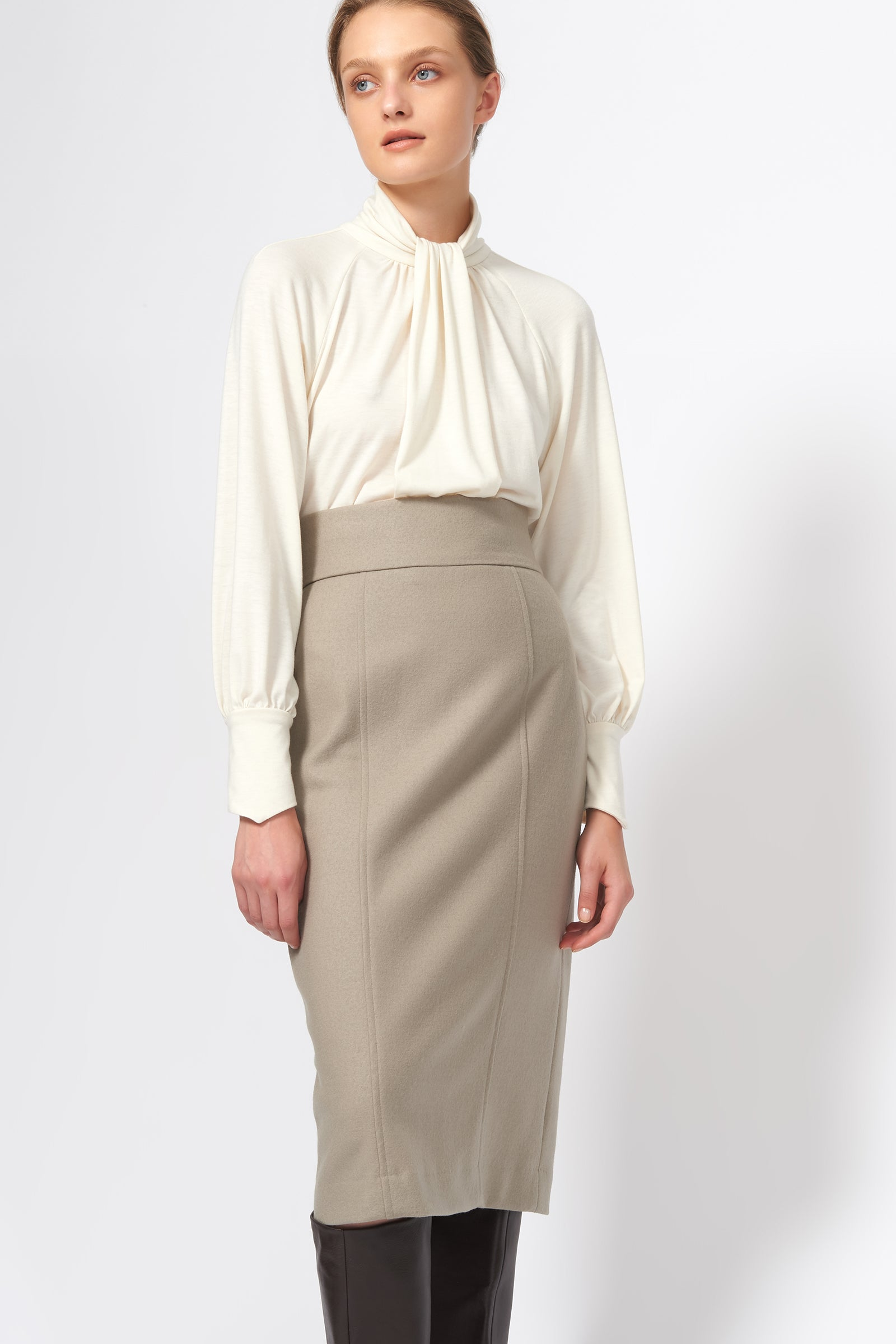 Kal Rieman High Waisted Pencil Skirt in Taupe on Model Front View
