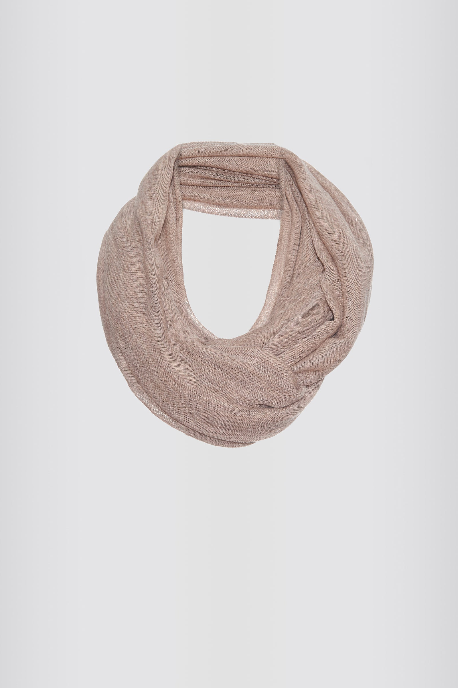 Kal Rieman Infinity Circle Scarf in Dark Beige on Model Front Full View Untied
