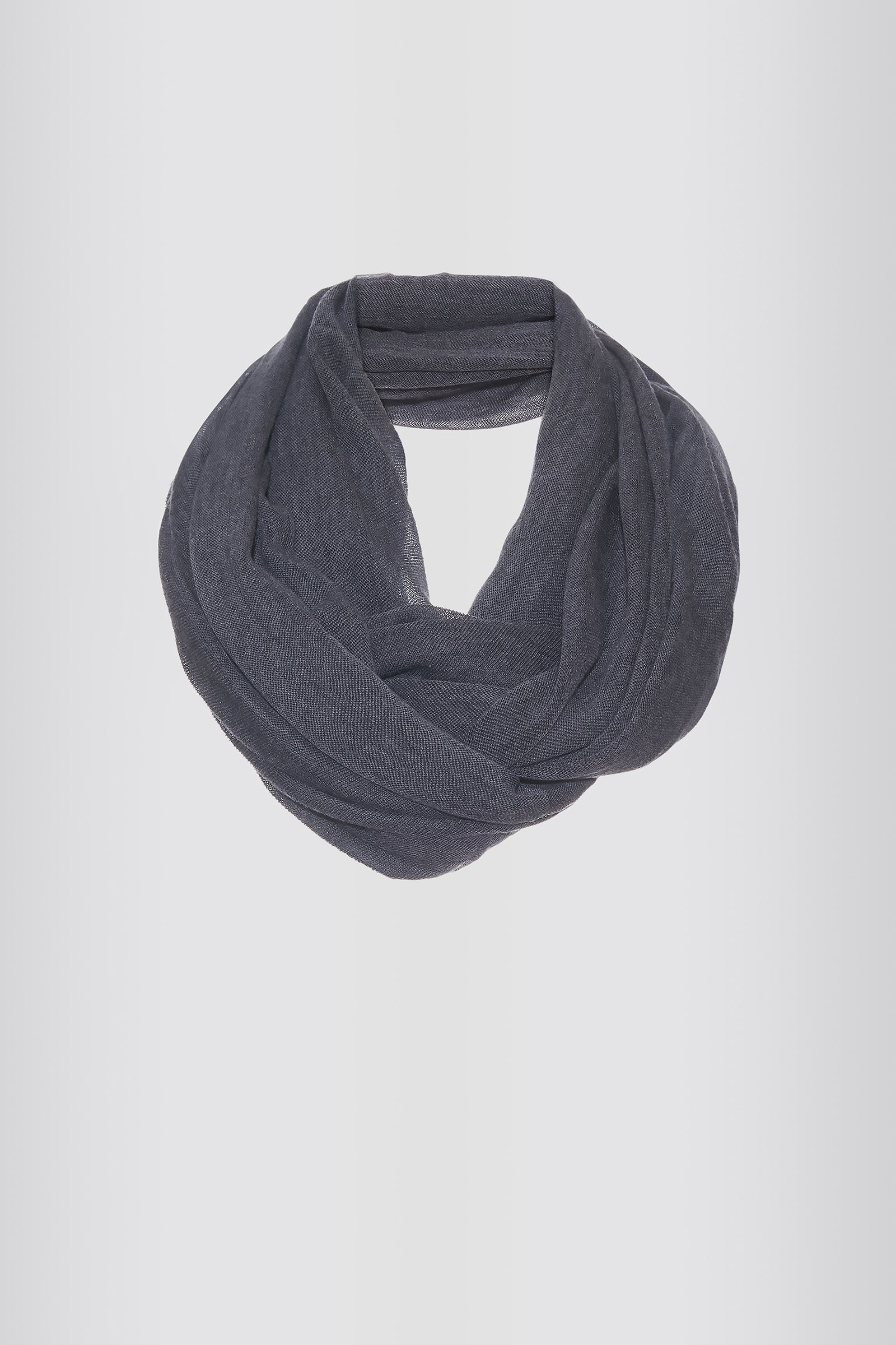 Kal Rieman Infinity Circle Scarf in Charcoal on Model Front Full View Tied
