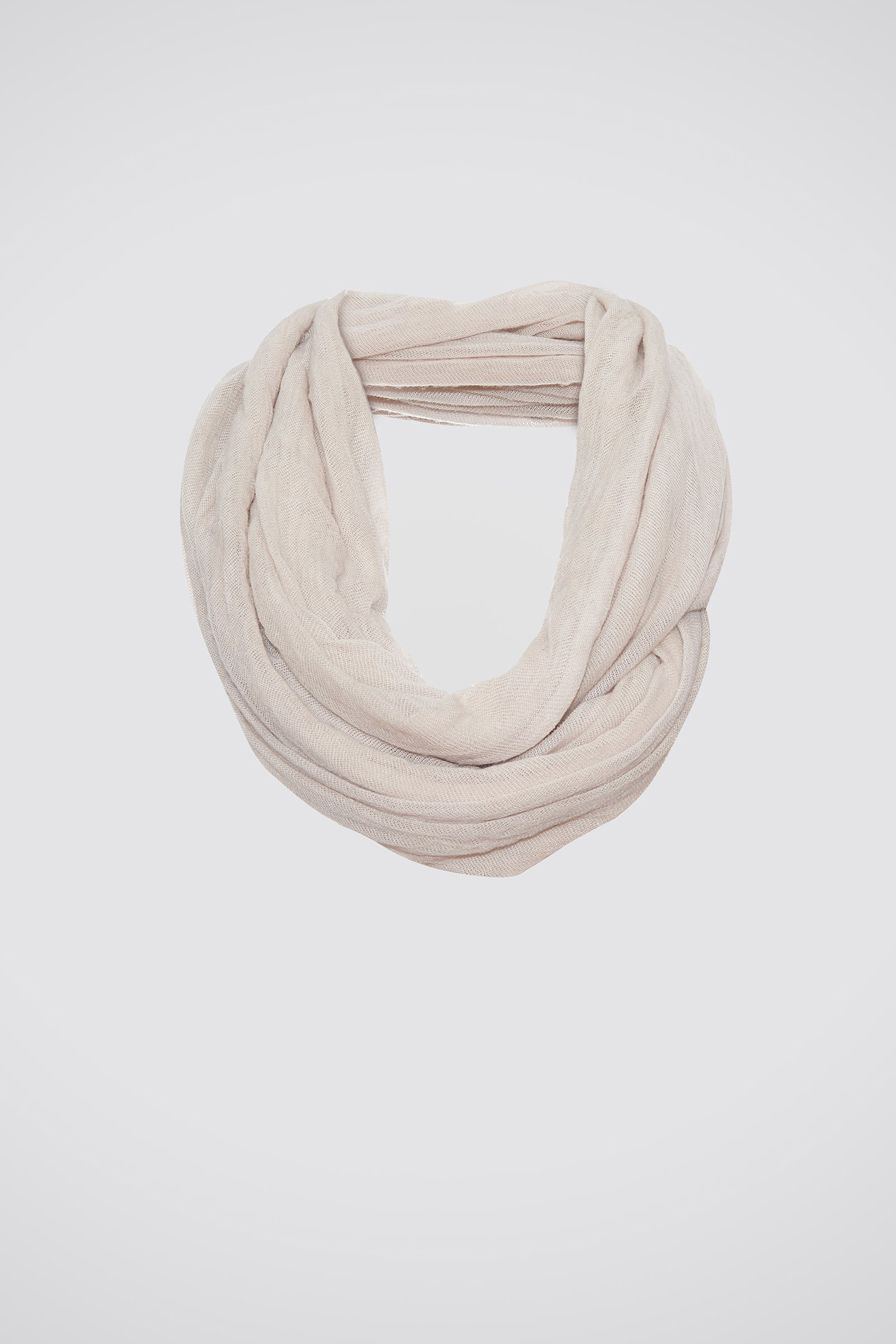 Kal Rieman Infinity Circle Scarf in Cream on Model Front View Tied