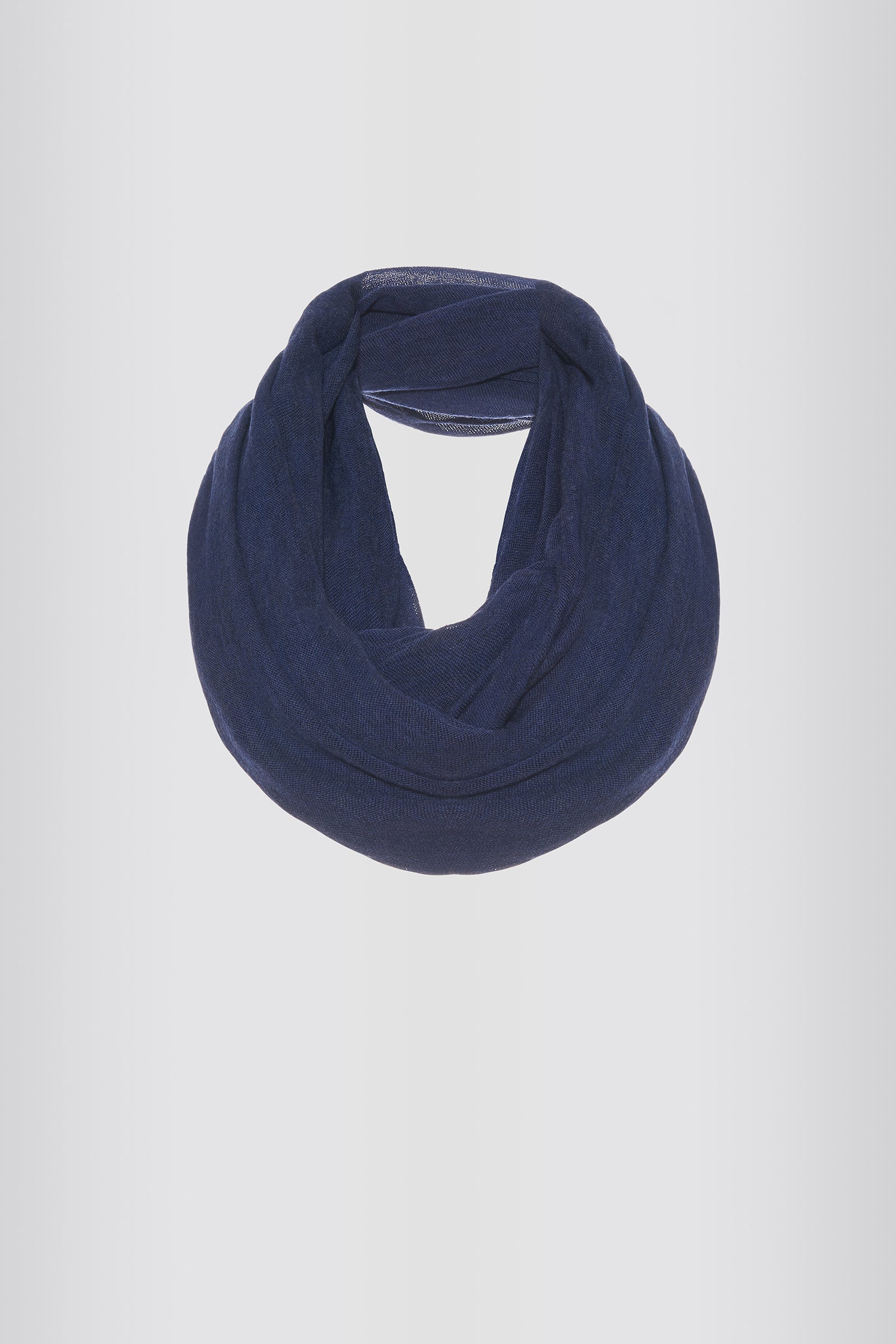 Kal Rieman Infinity Circle Scarf in Navy on Model Front Full View Tied