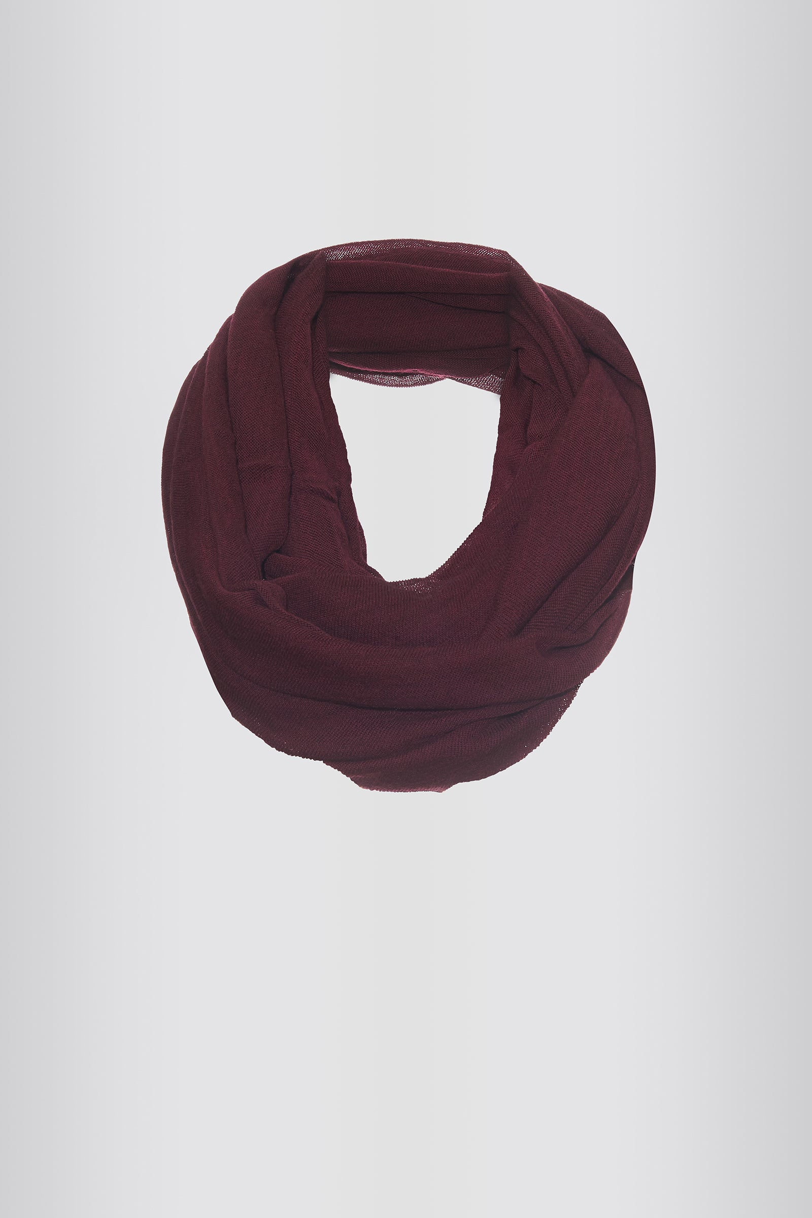 Kal Rieman Infinity Circle Scarf in Wine on Model Front View Tied