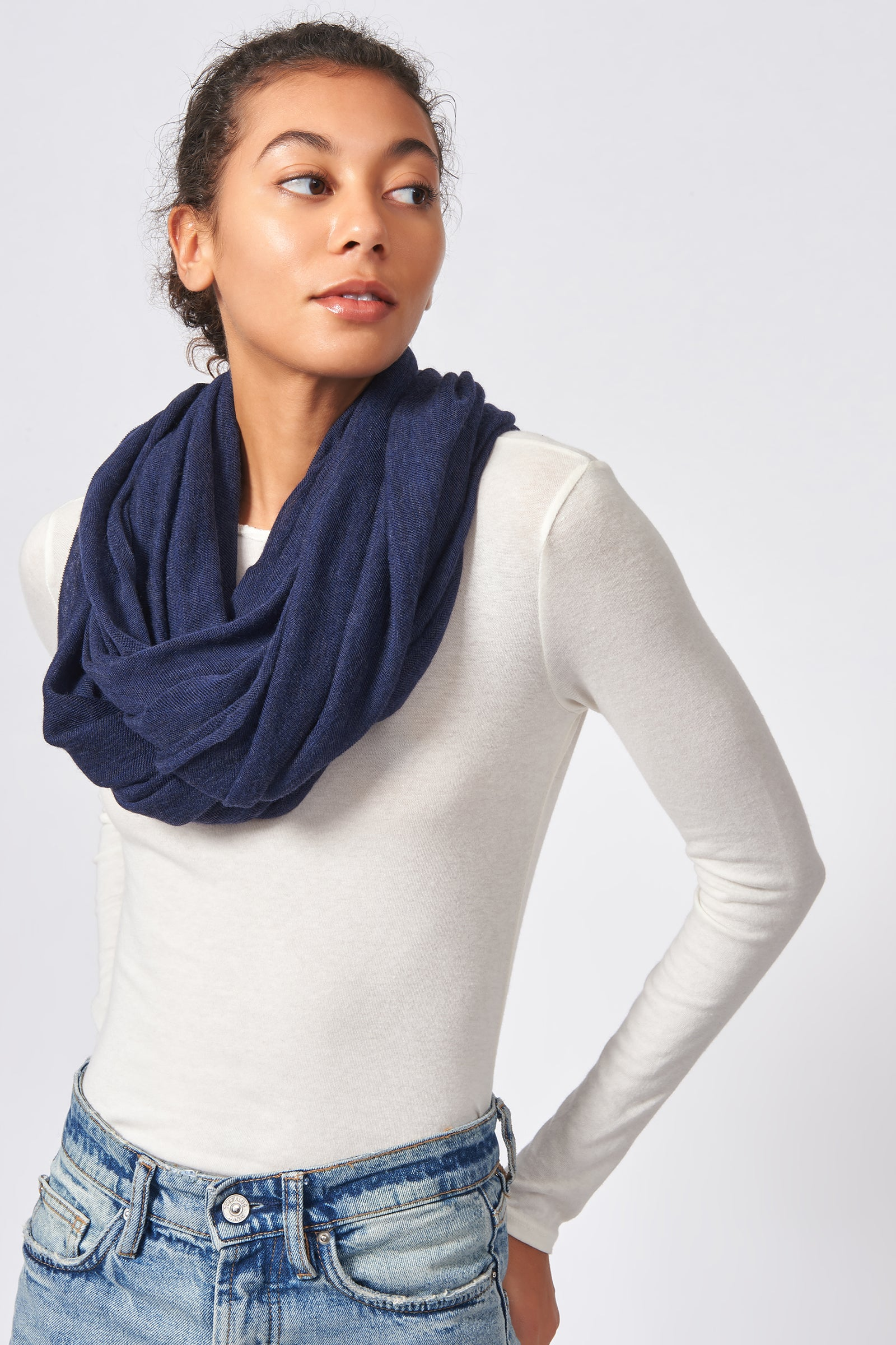 Kal Rieman Infinity Circle Scarf in Navy on Model Front Side View Tied