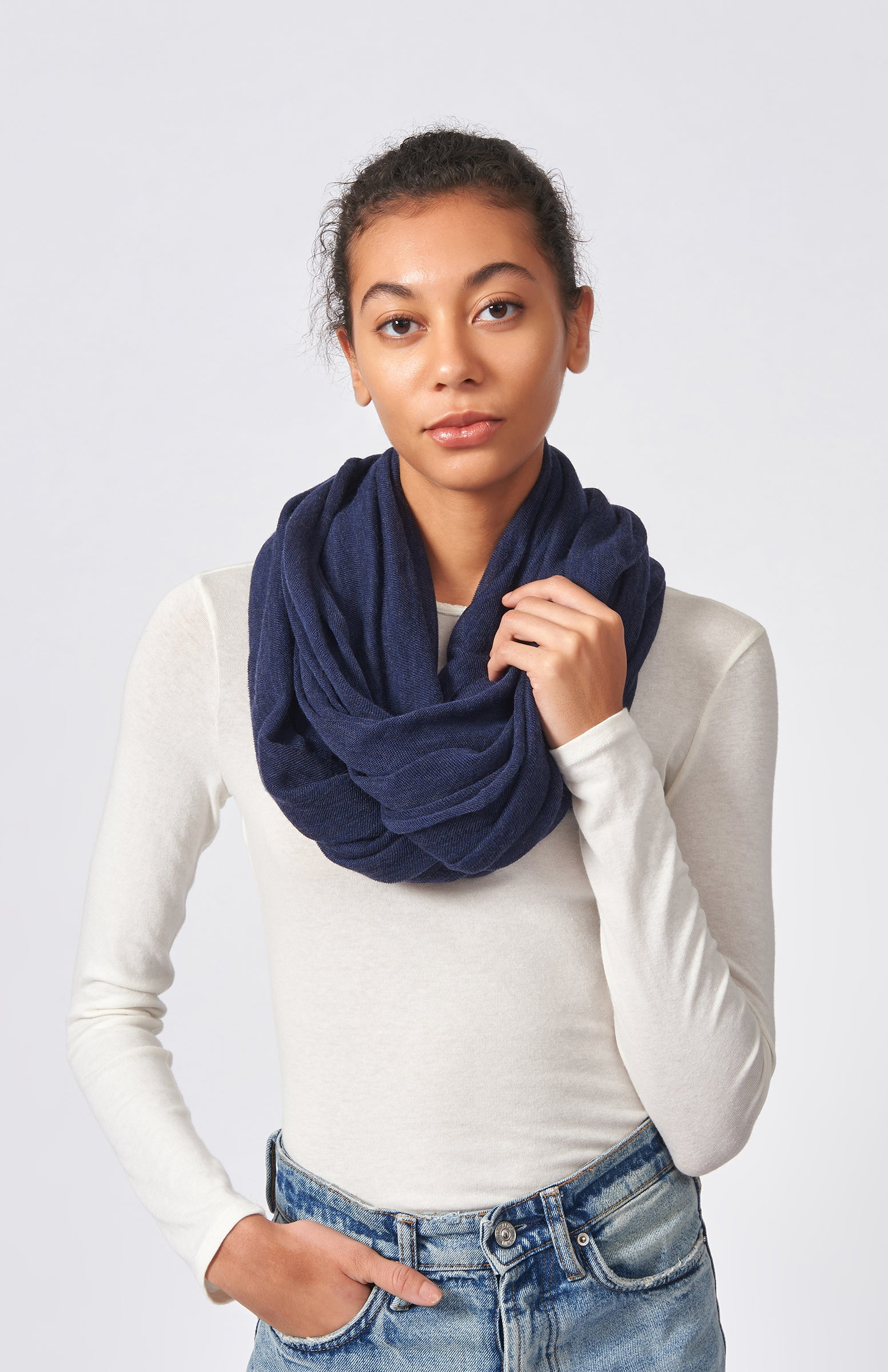 Kal Rieman Infinity Circle Scarf in Navy on Model Front View Tied