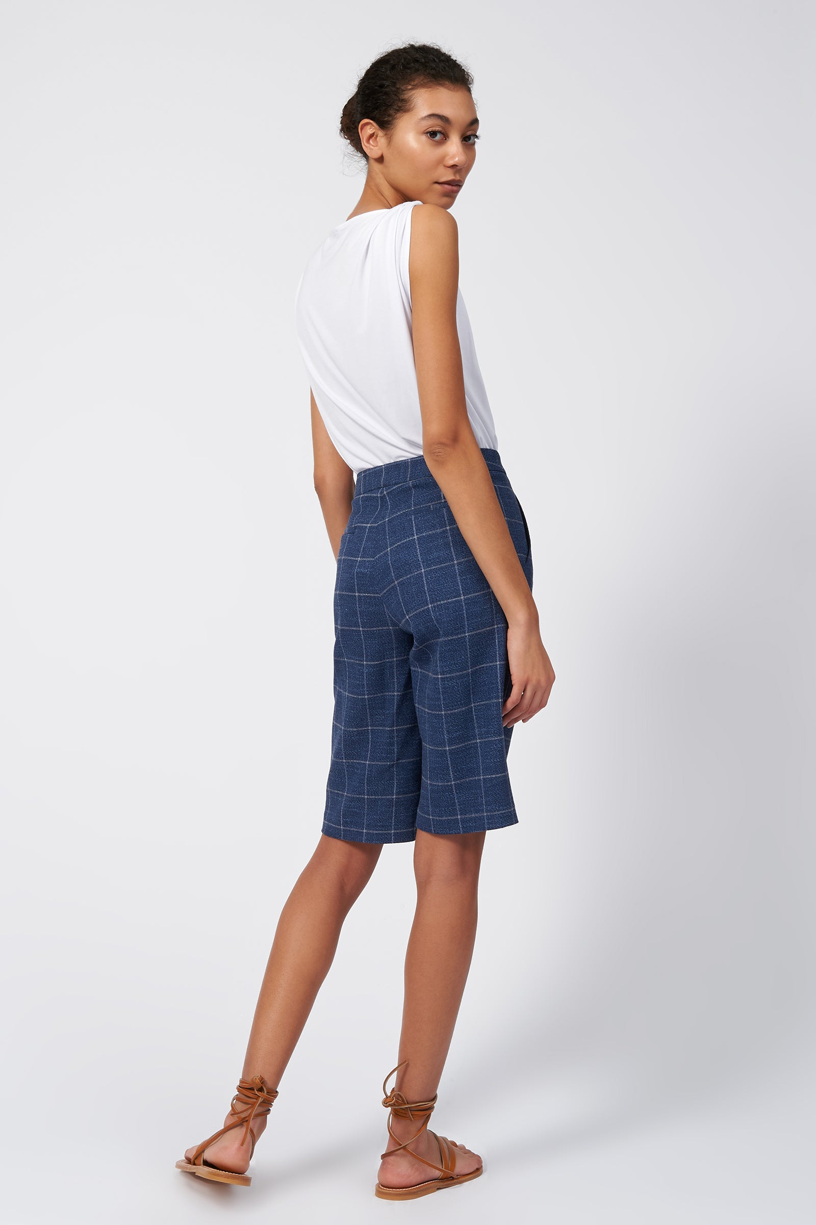 Kal Rieman Flat Front Bermuda Short in Windowpane on Model Full Front View