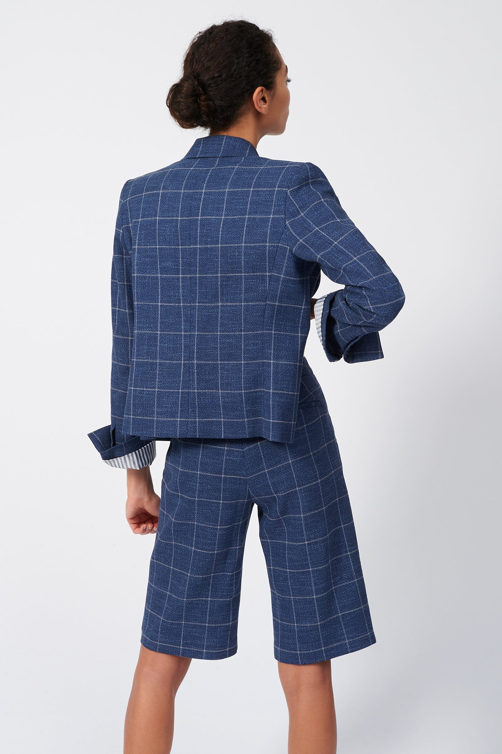 Kal Rieman Crop Tux Blazer in Windowpane on Model Front View