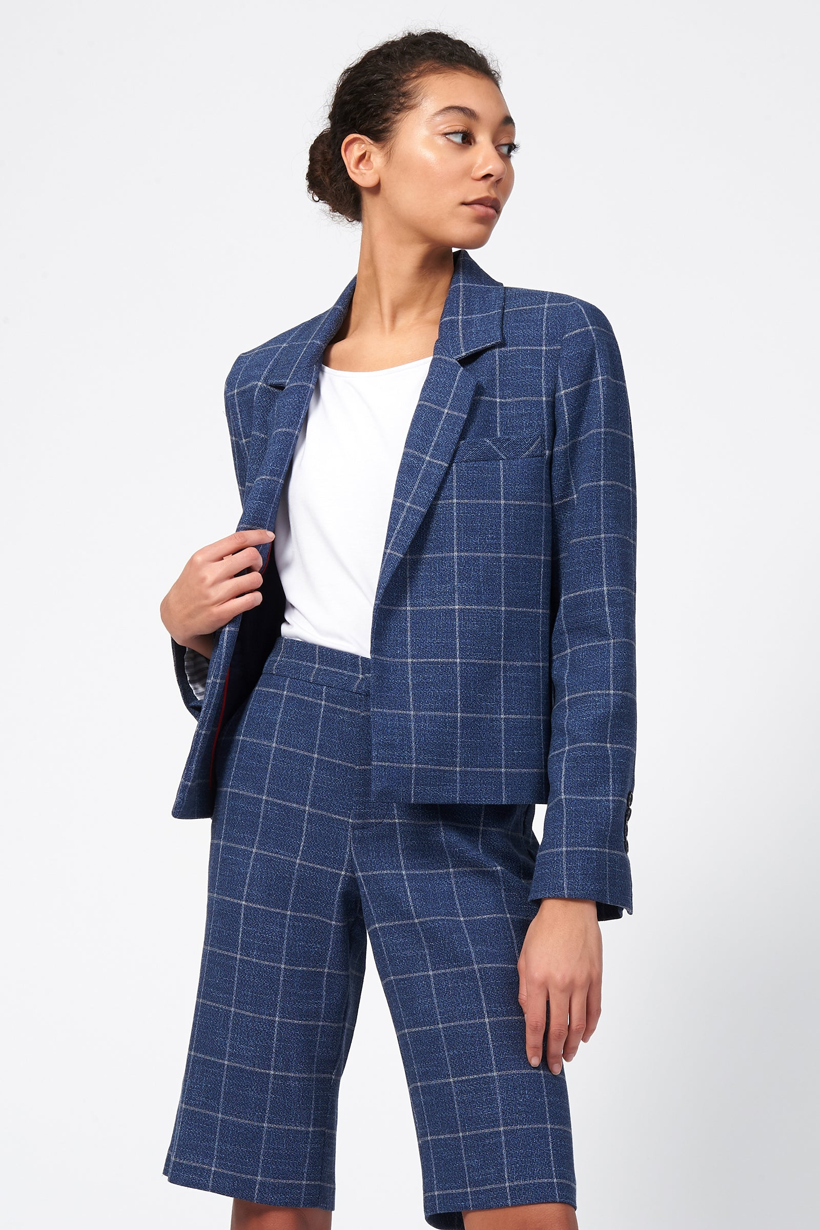 Kal Rieman Crop Tux Blazer in Windowpane on Model Front Side View