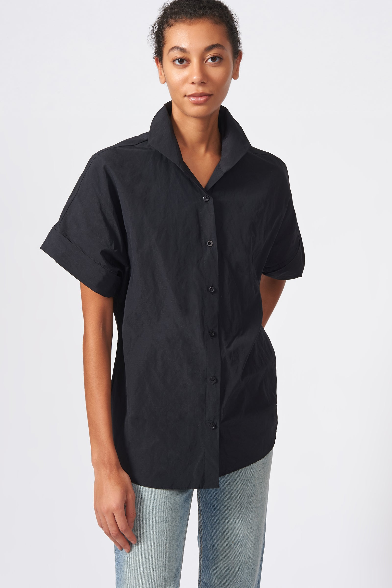 Kal Rieman Kimono Shirt in Black Cotton Nylon on Model Front View