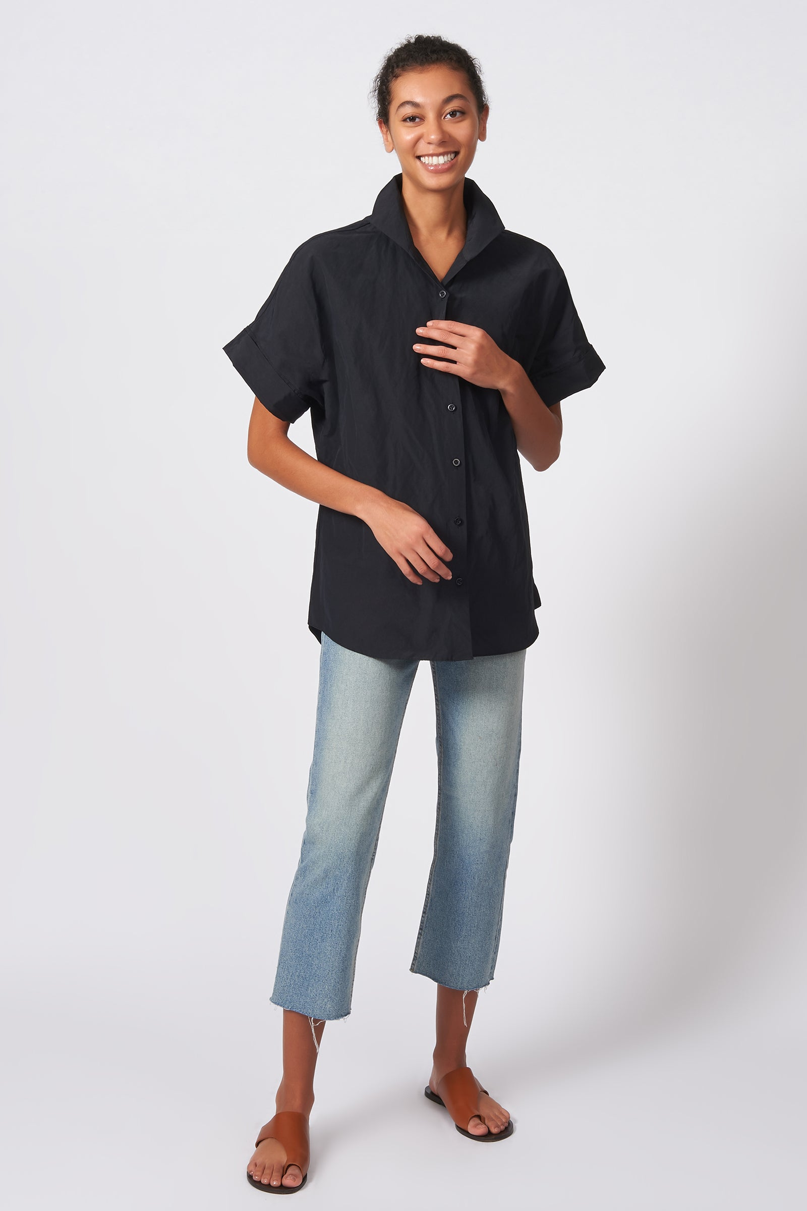 Kal Rieman Kimono Shirt in Black Cotton Nylon on Model Front Full View