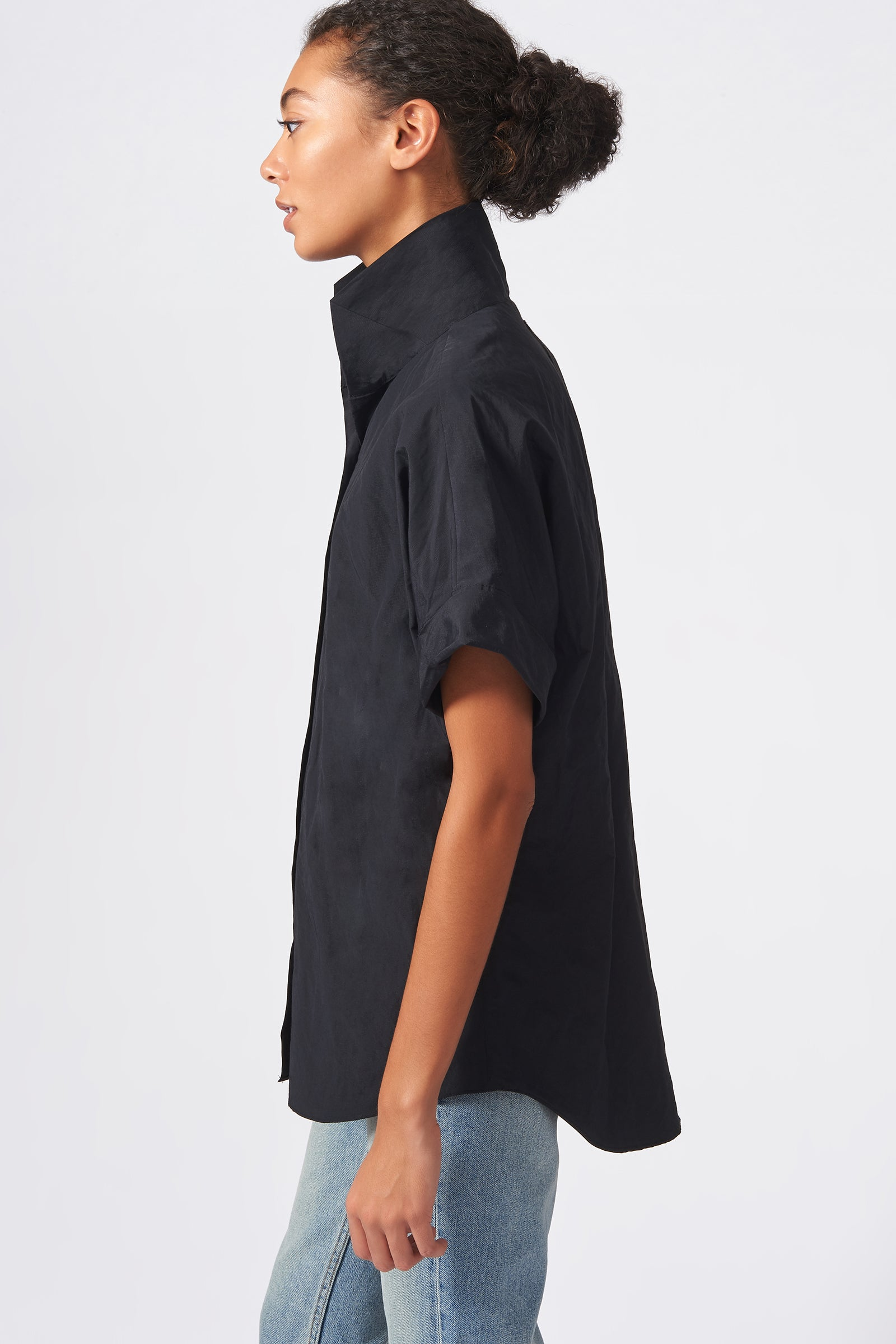 Kal Rieman Kimono Shirt in Black Cotton Nylon on Model Side View