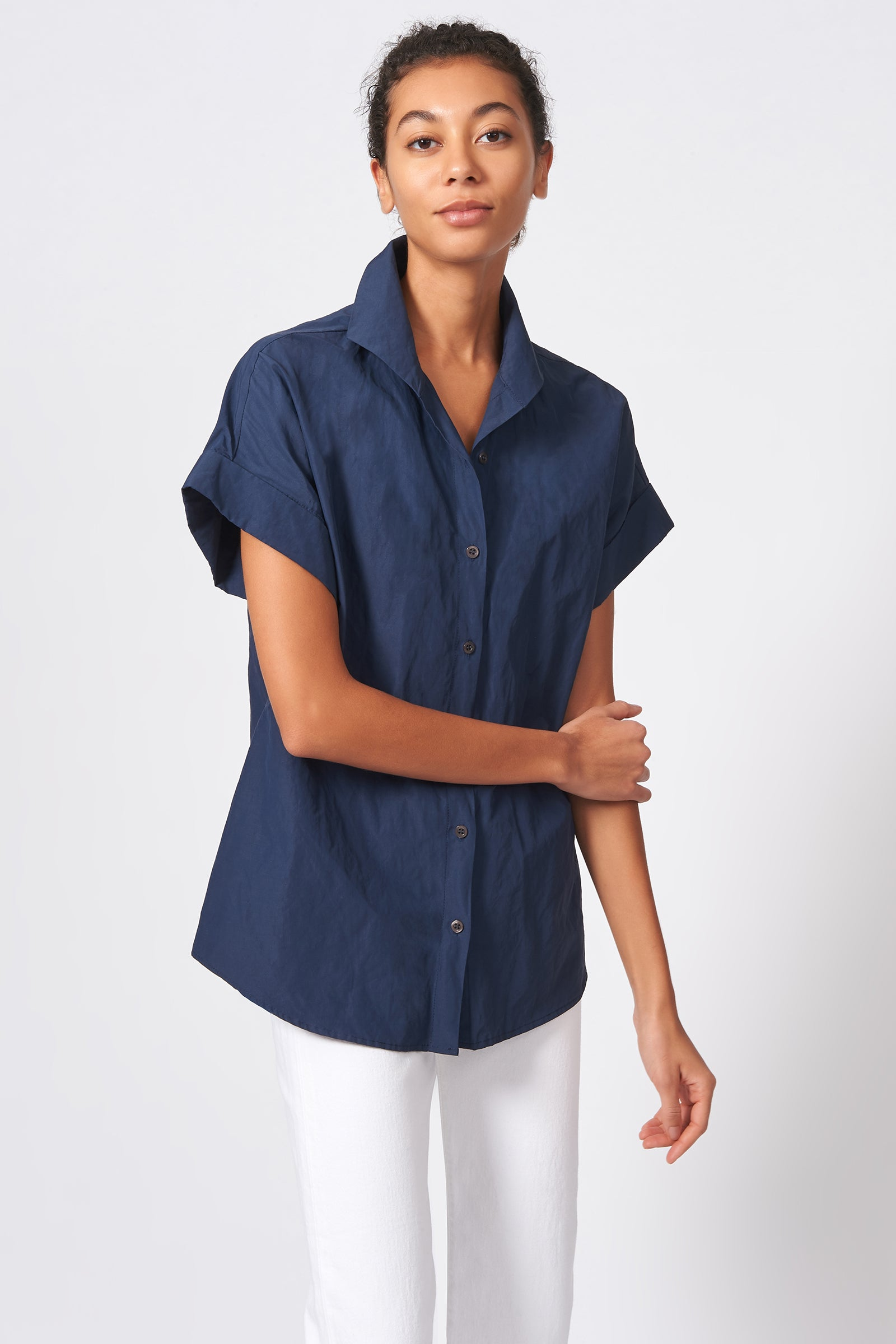 Kal Rieman Kimono Shirt in Navy Cotton Nylon on Model Front View