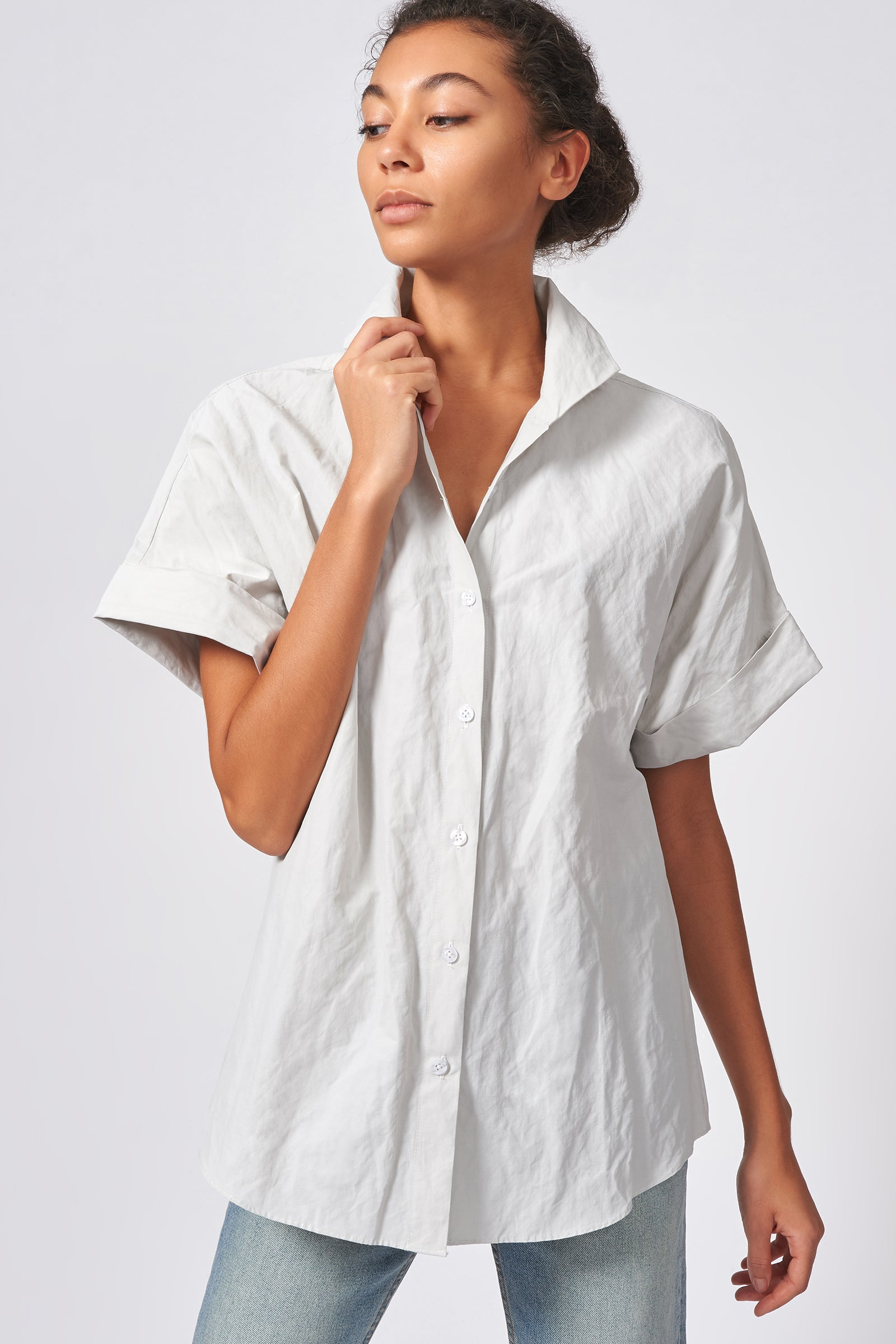Kal Rieman Kimono Shirt in Stone Cotton Nylon on Model Front View