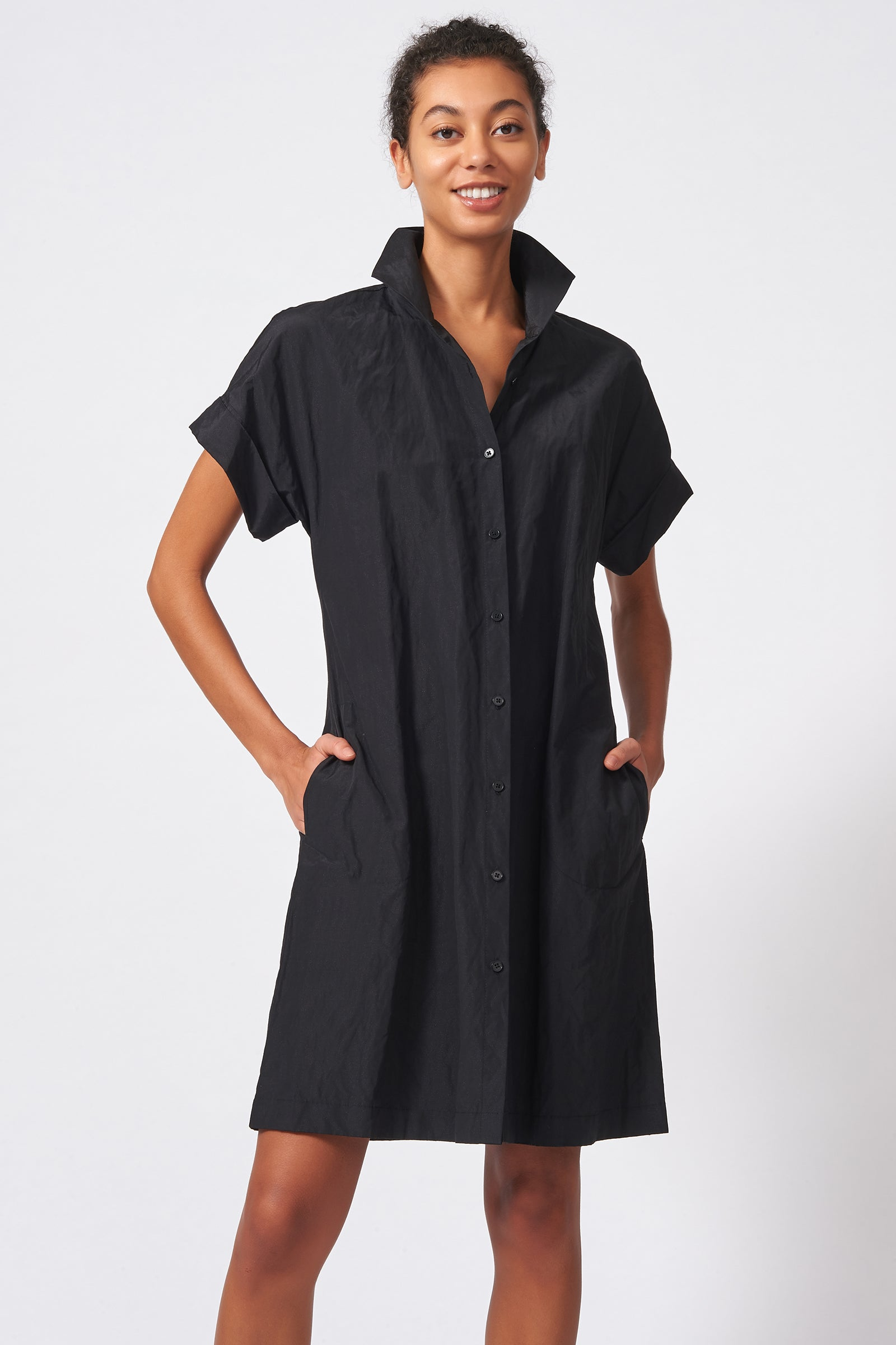 Kal Rieman Kimono Shirt Dress Cotton Nylon in Black on Model Front View