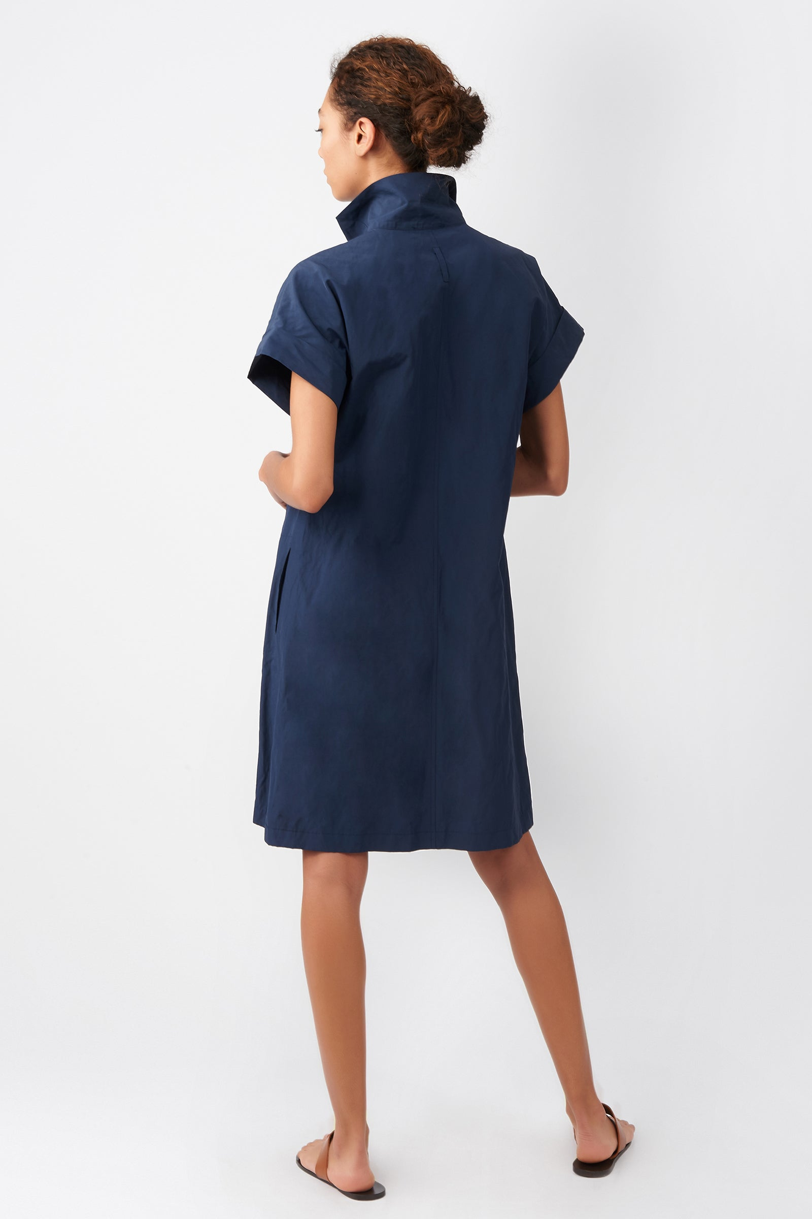 Kal Rieman Kimono Dress in Navy on Model Front View