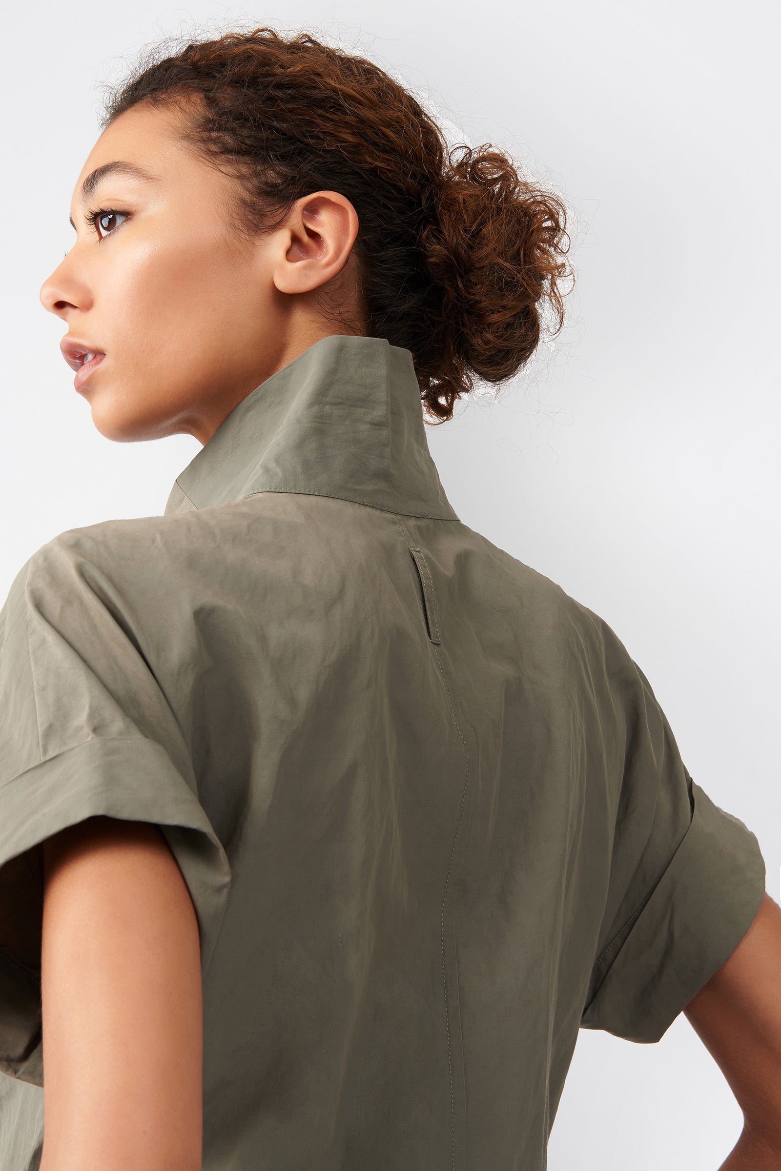 Kal Rieman Kimono Dress in Olive on Model Back Detail View