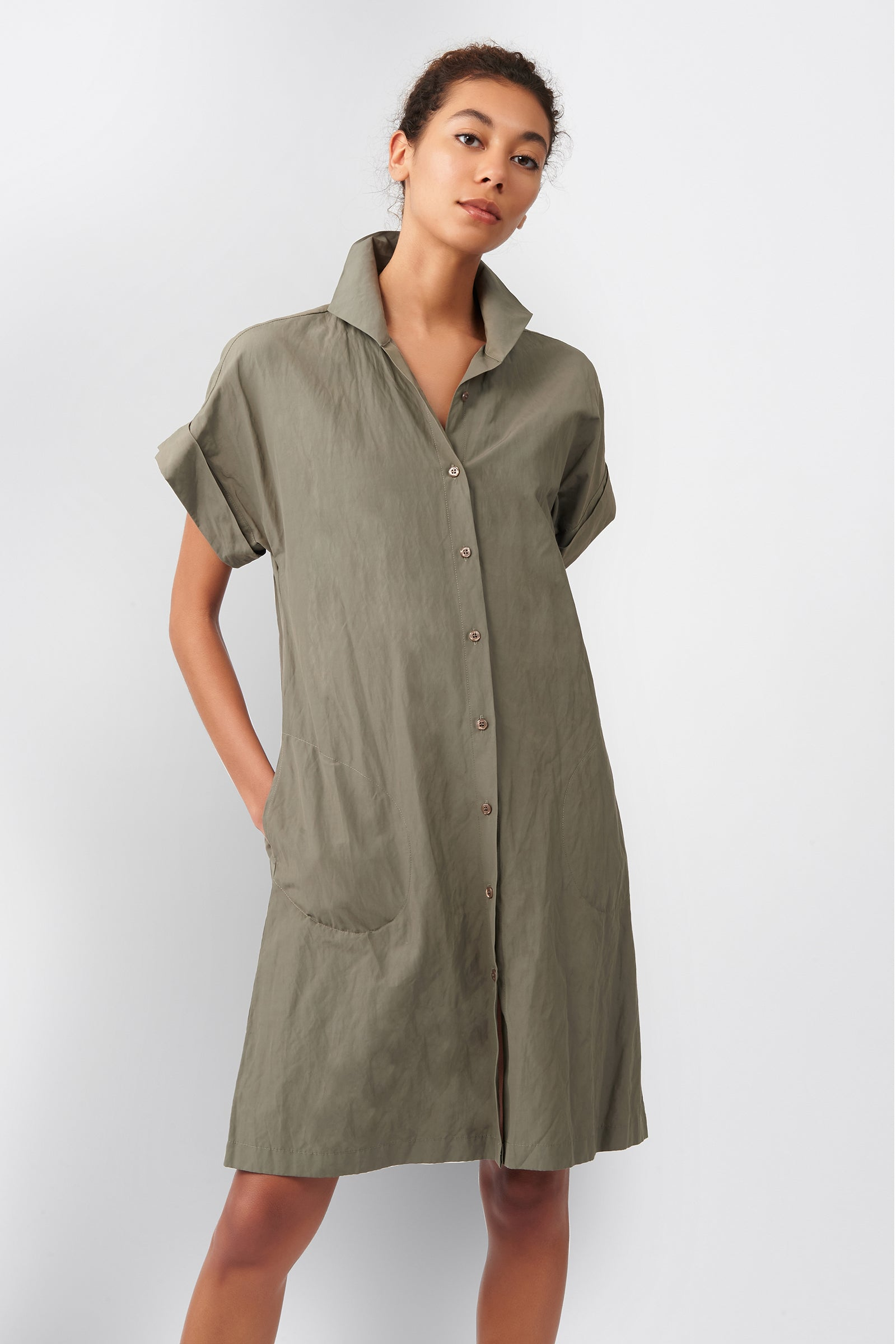Kal Rieman Kimono Dress in Olive on Model Front View