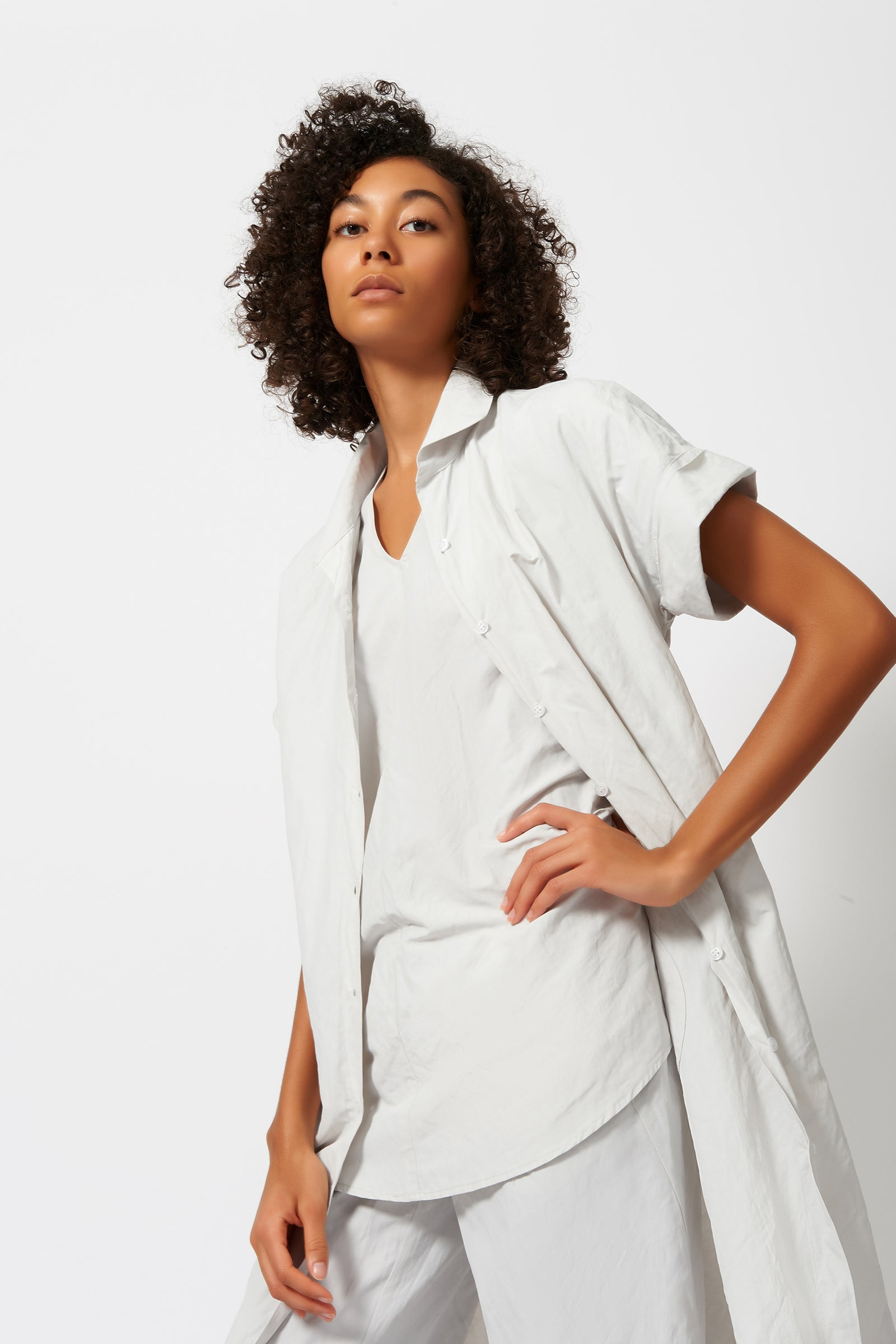 Kal Rieman Kimono Dress in Stone on Model Full Front View