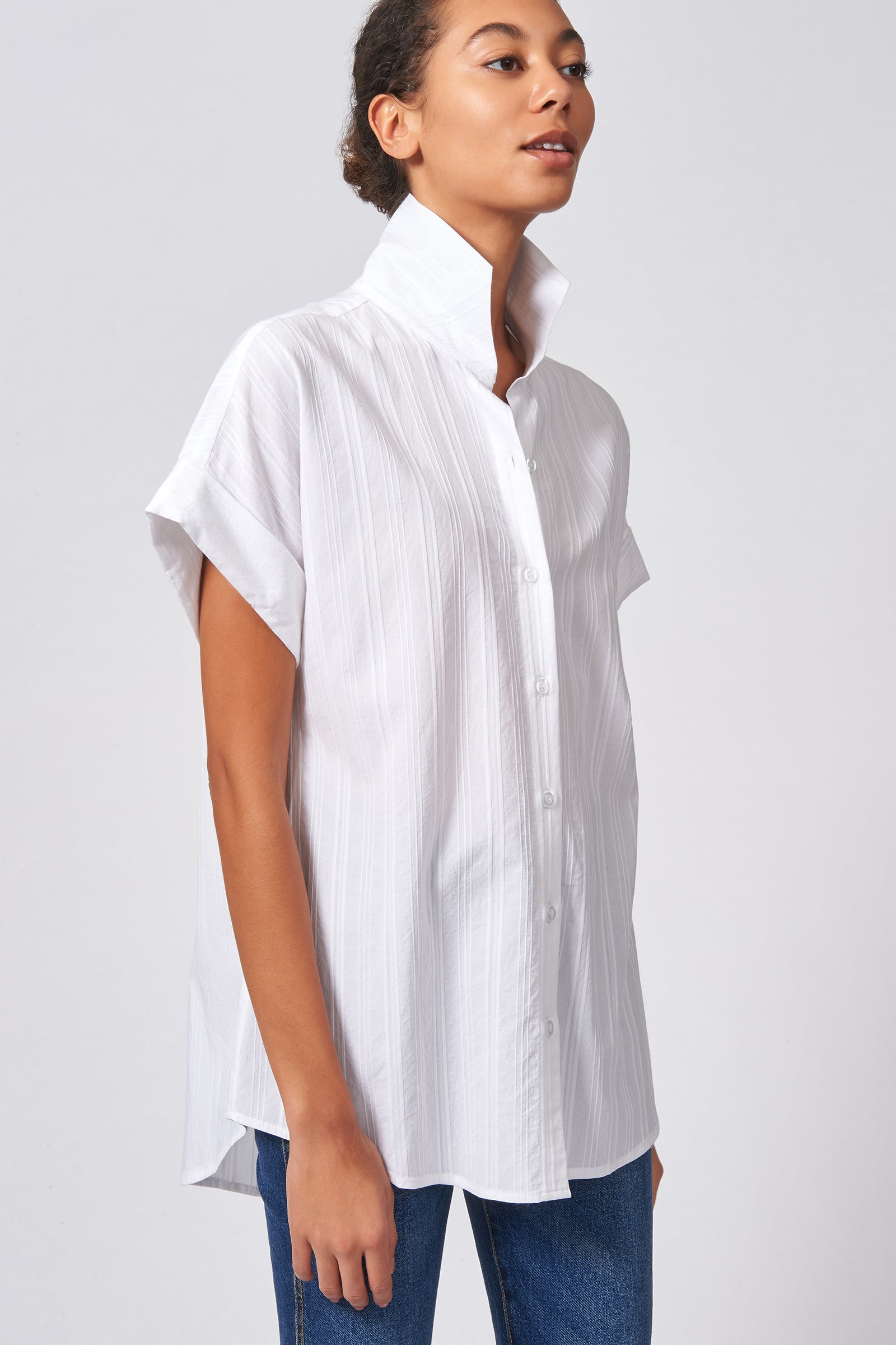 Kal Rieman Kimono Shirt in White Stripe on Model Front Side View