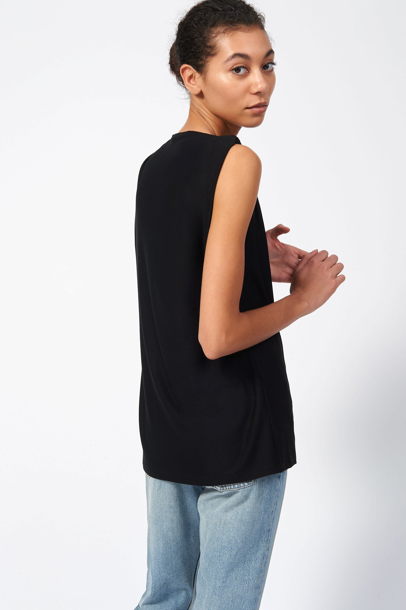 Kal Rieman Knot Shoulder Tee in Black on Model Back View