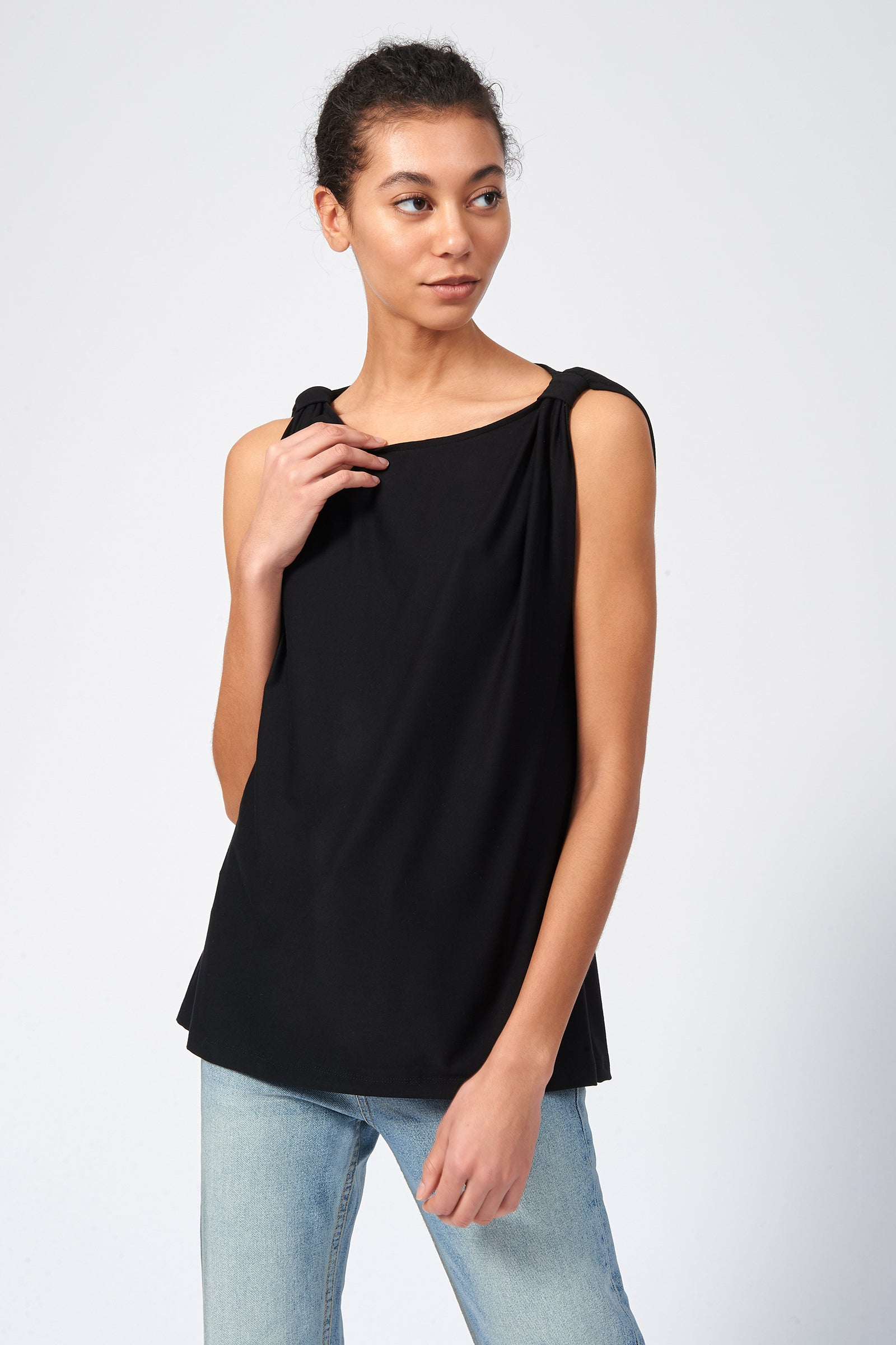 Kal Rieman Knot Shoulder Tee in Black on Model Front View