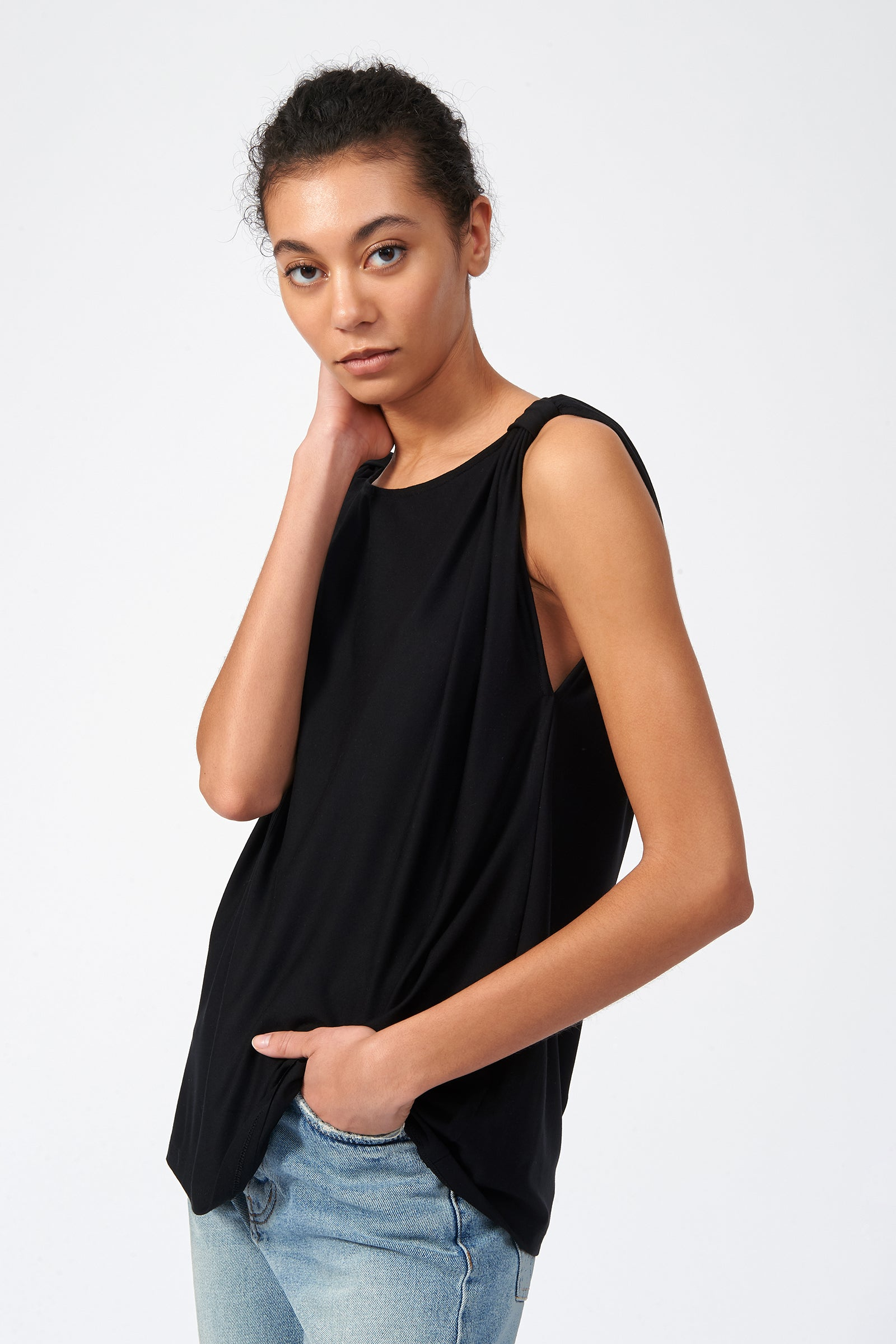 Kal Rieman Knot Shoulder Tee in Black on Model Side View