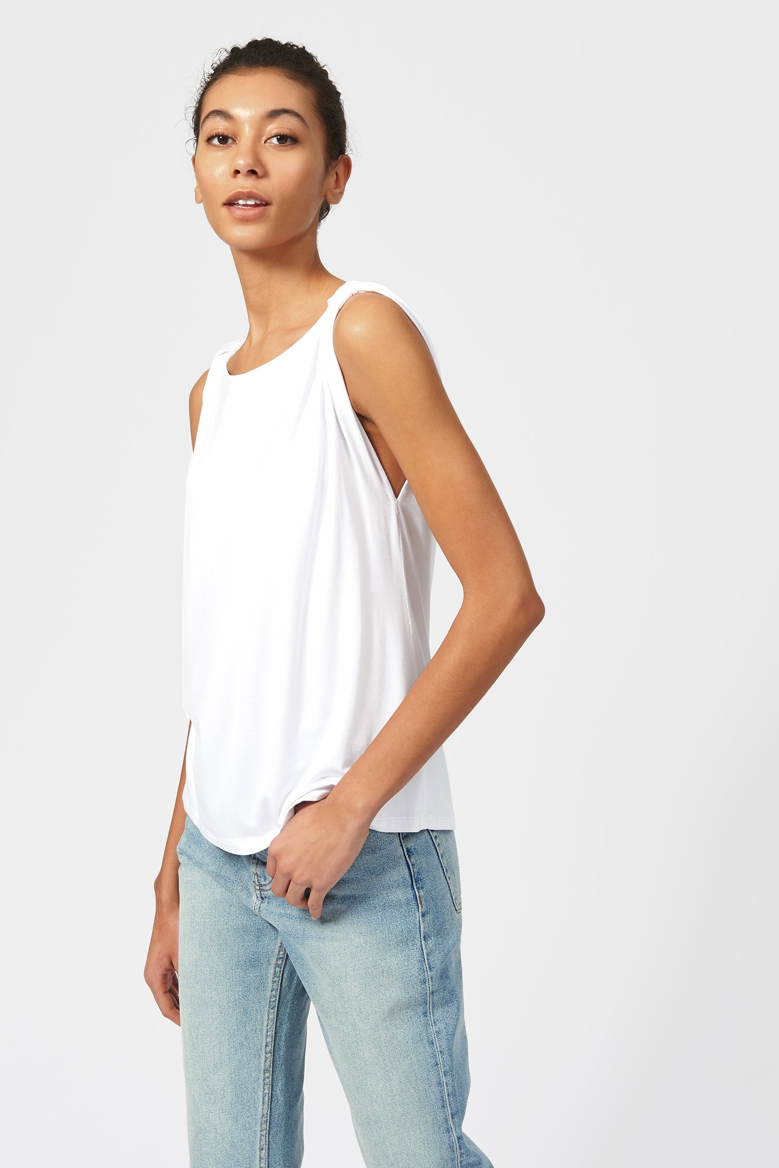 Knot Shoulder Tee - White