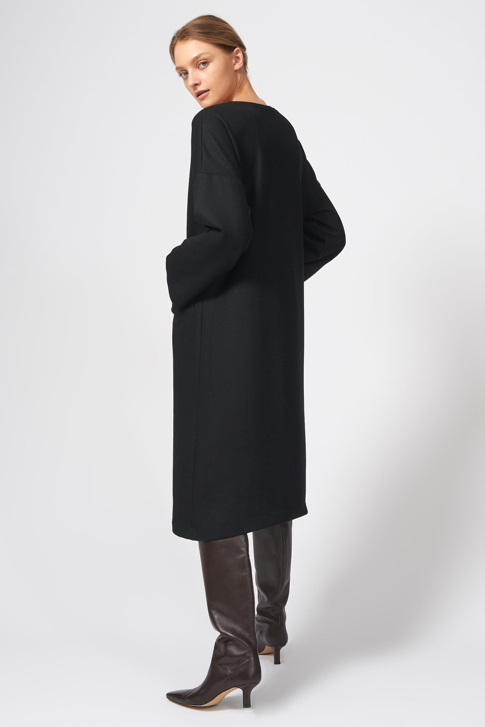 Kal Rieman LS V Neck Day Dress in Black Felted Jersey on Model Back View