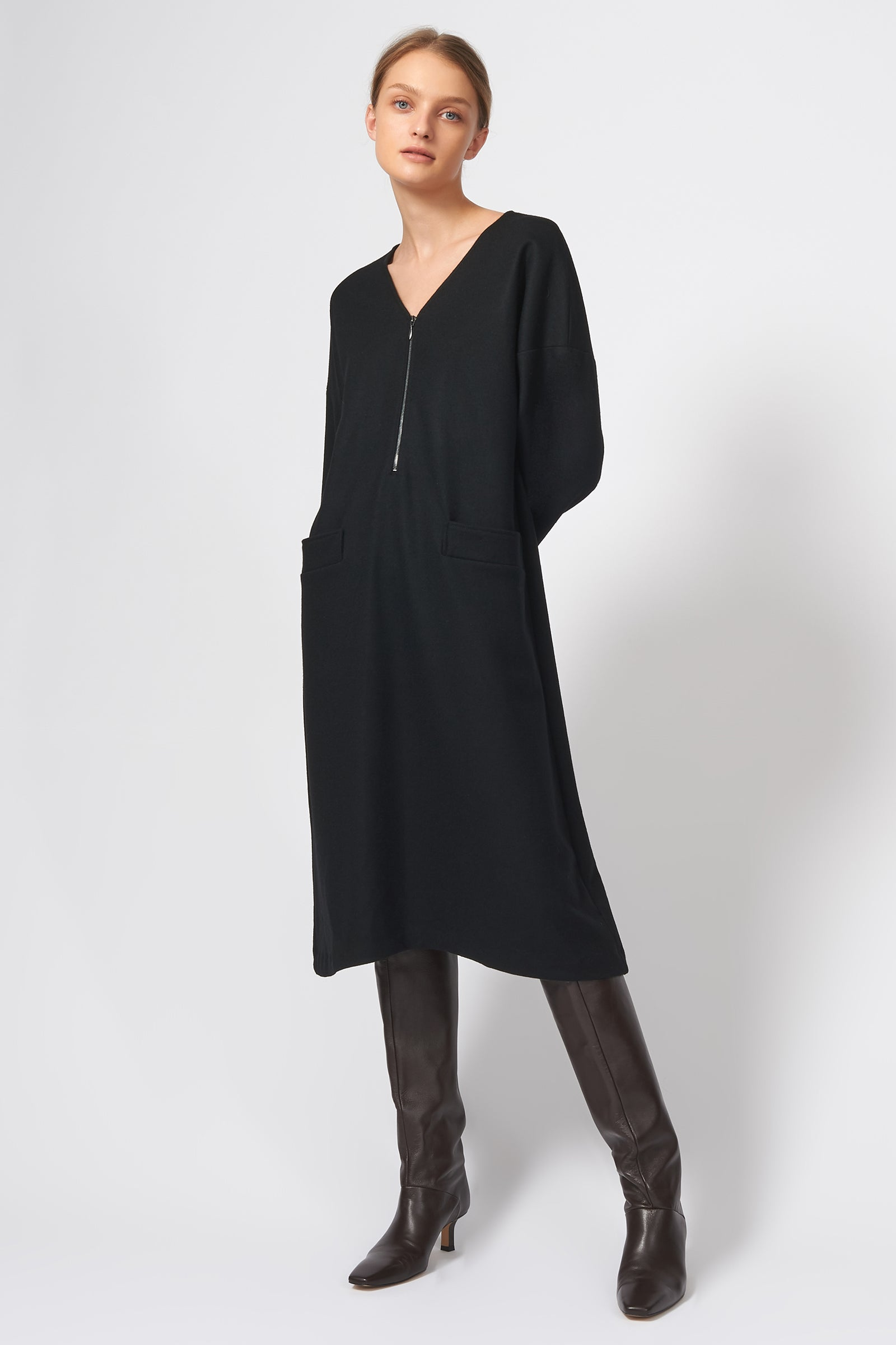 Kal Rieman LS V Neck Day Dress in Black Felted Jersey on Model Front Full View