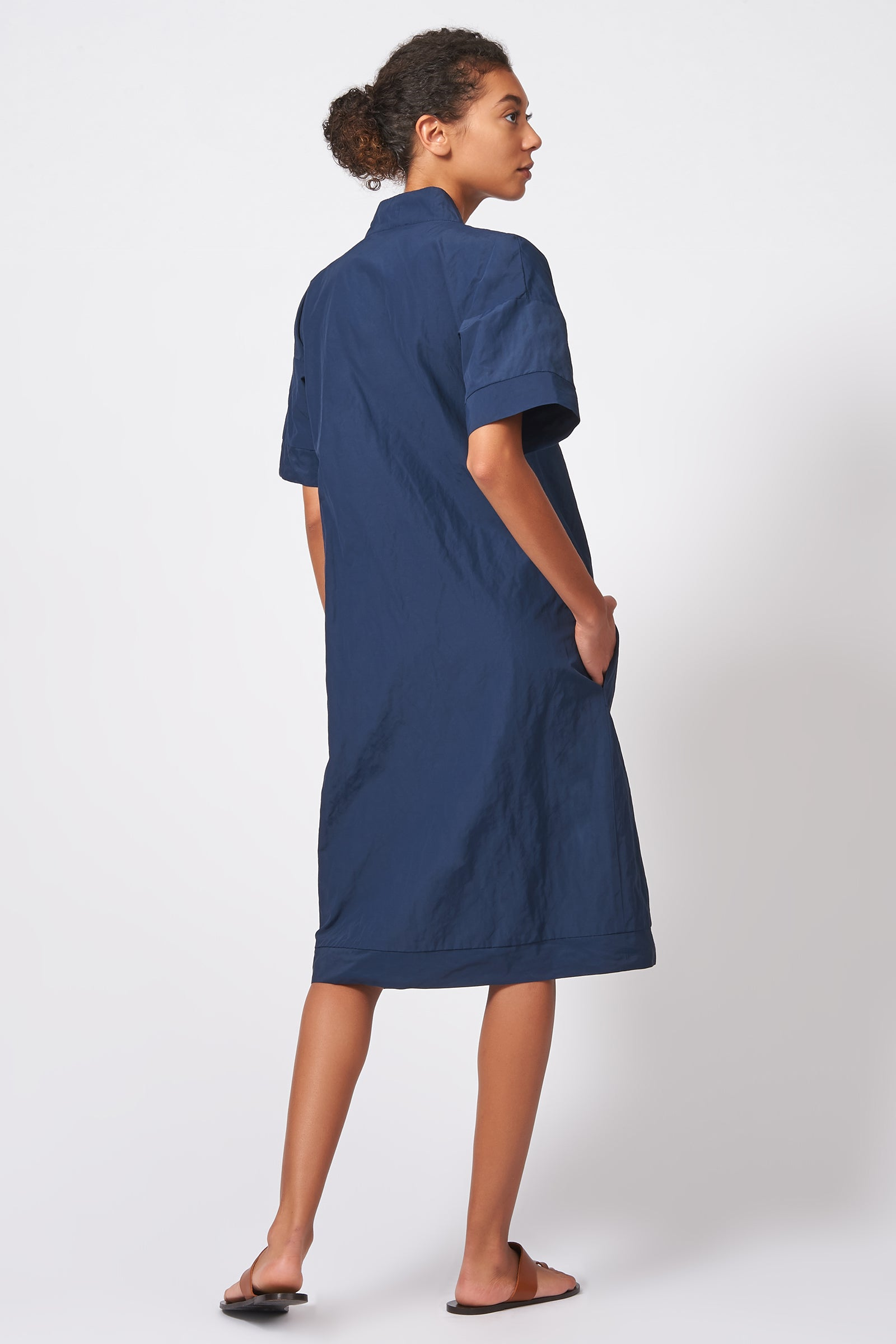 Kal Rieman Notch Placket Dress in Navy Cotton Nylon on Model Full Back View