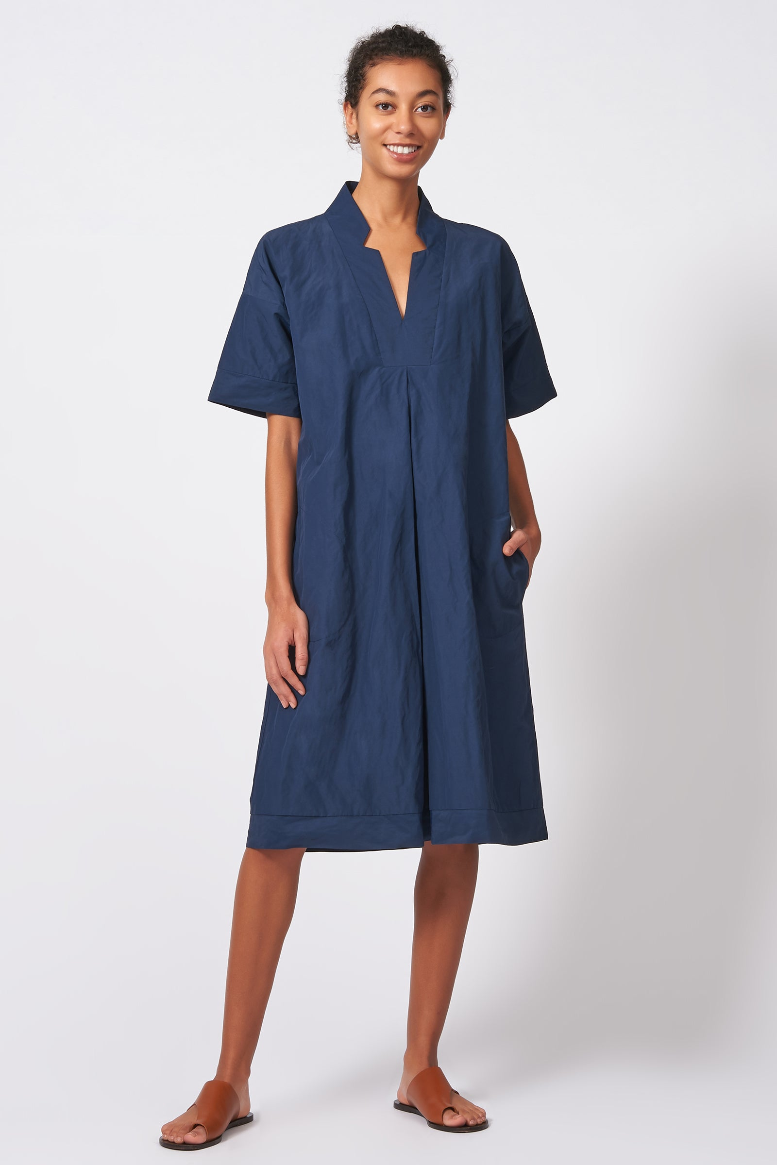 Kal Rieman Notch Placket Dress in Navy Cotton Nylon on Model Full Front View