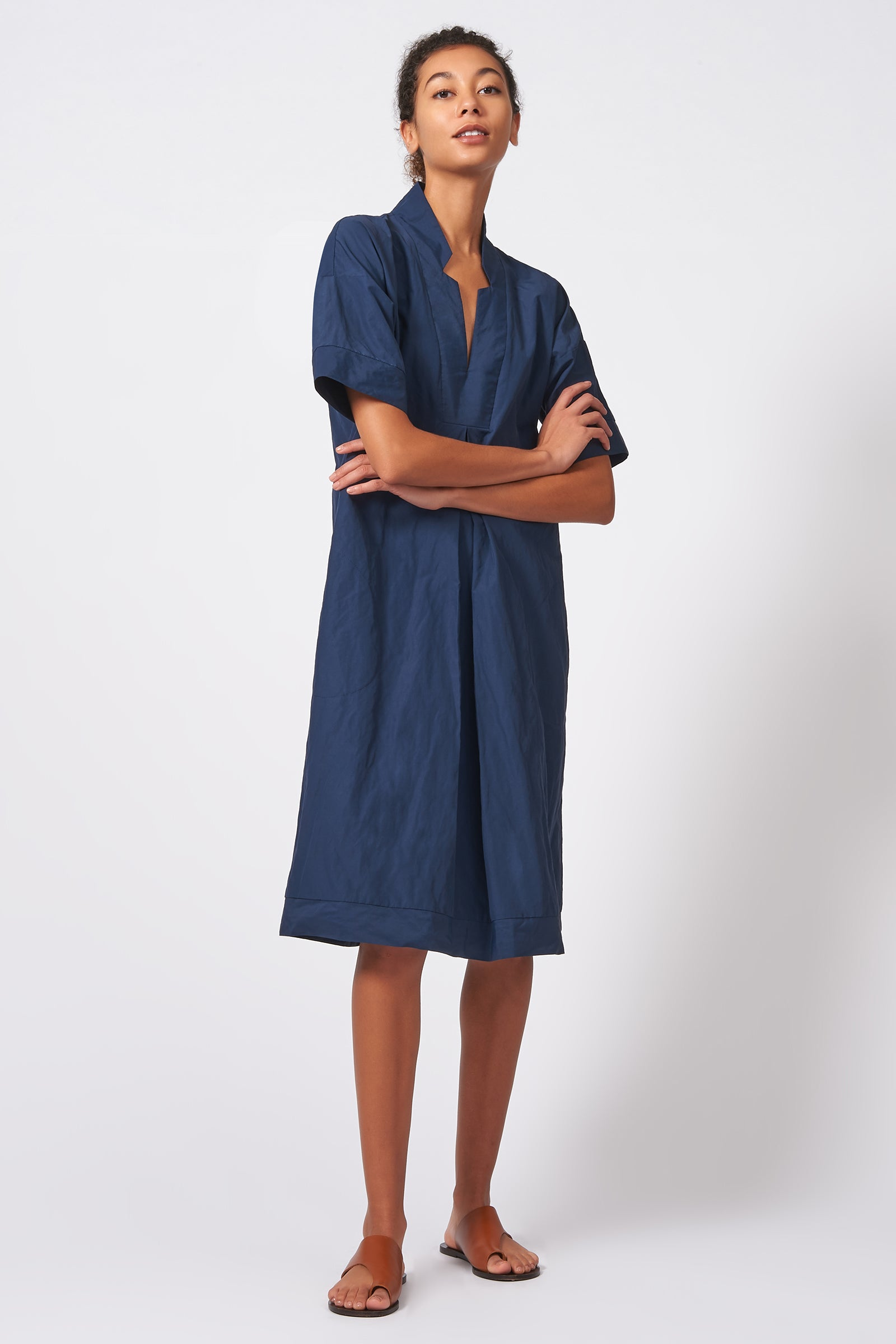 Kal Rieman Notch Placket Dress in Navy Cotton Nylon on Model Full Front Side View