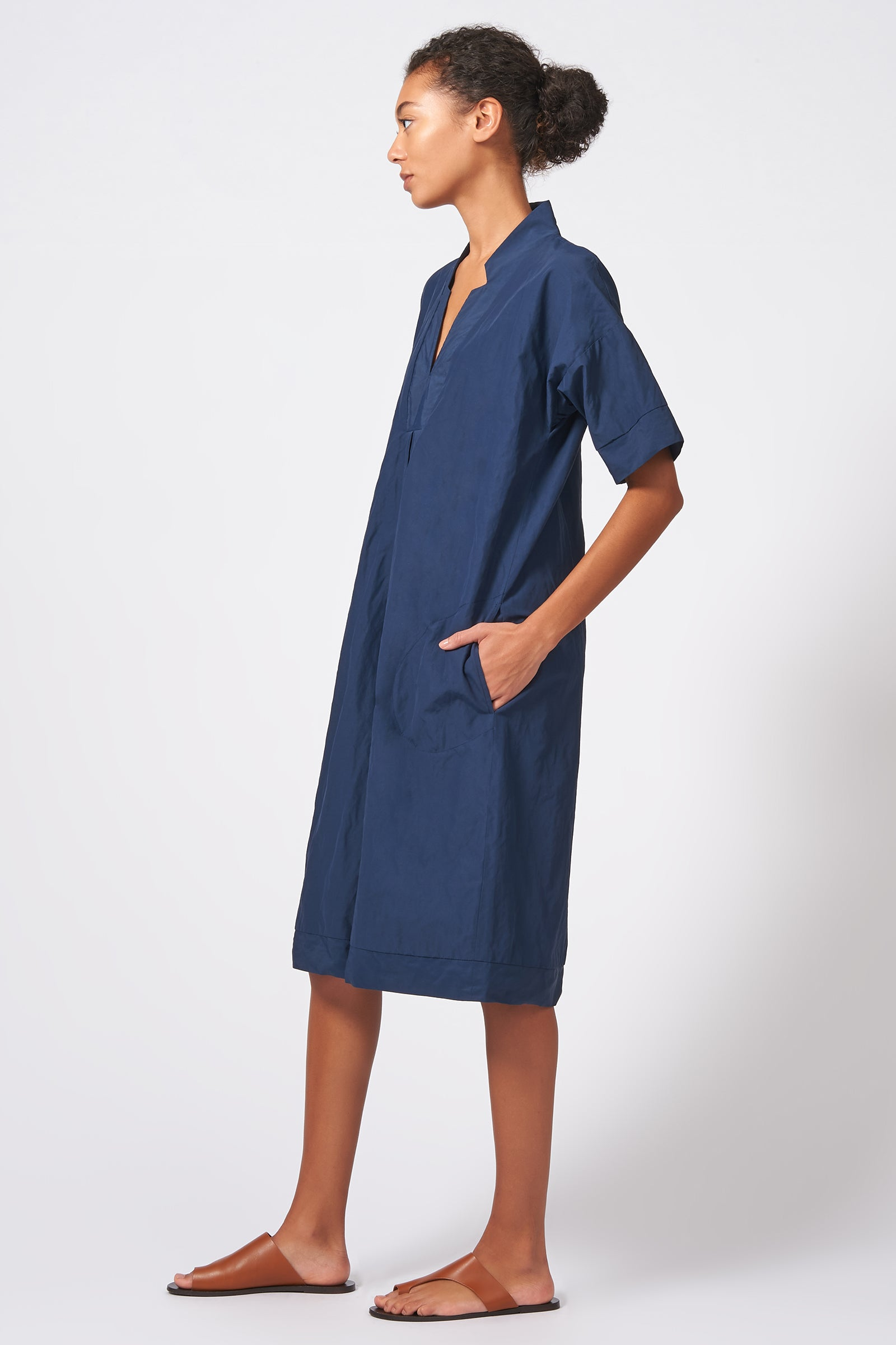 Kal Rieman Notch Placket Dress in Navy Cotton Nylon on Model Full Side View