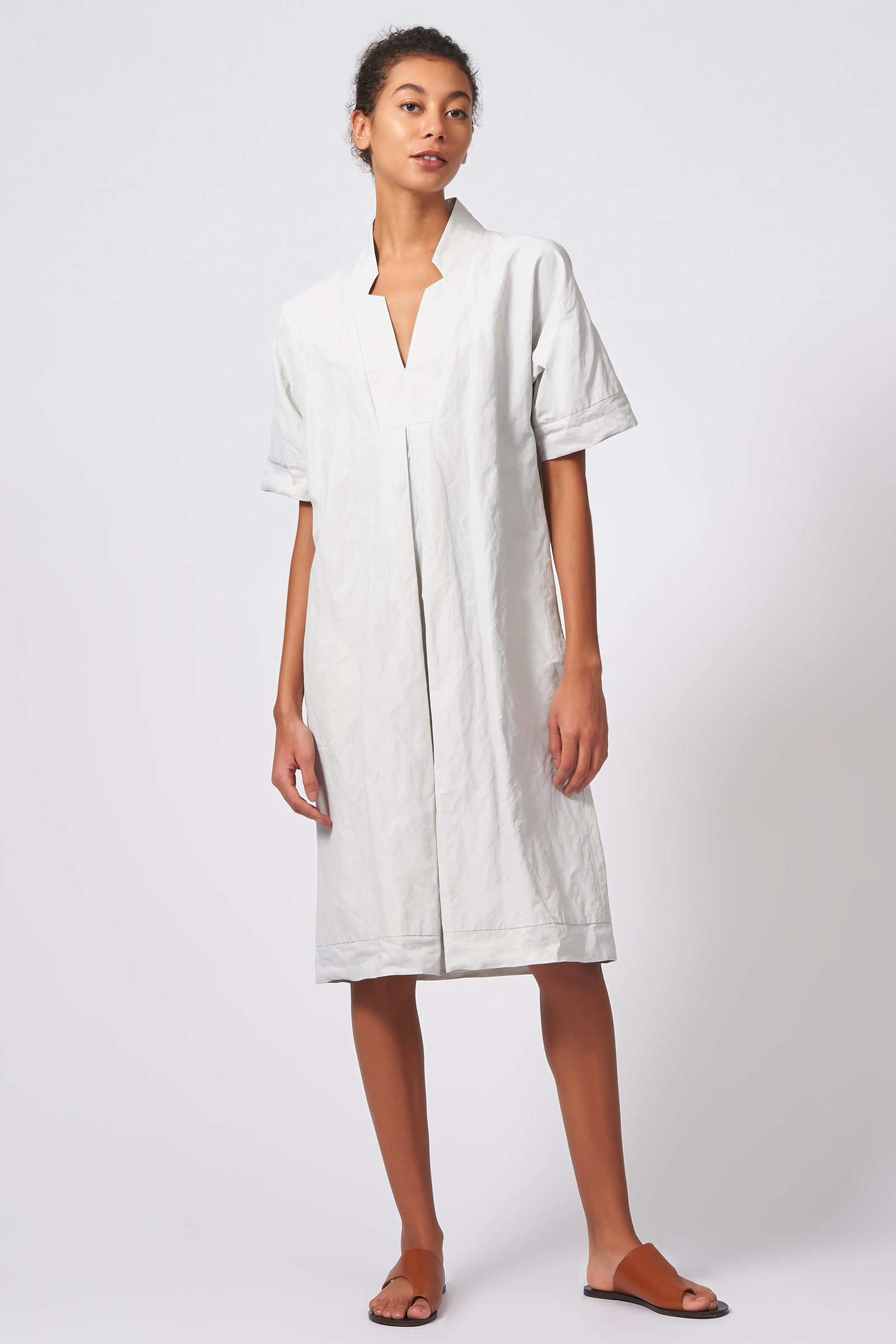 Kal Rieman Notch Placket Dress in Stone Cotton Nylon on Model Full Front View