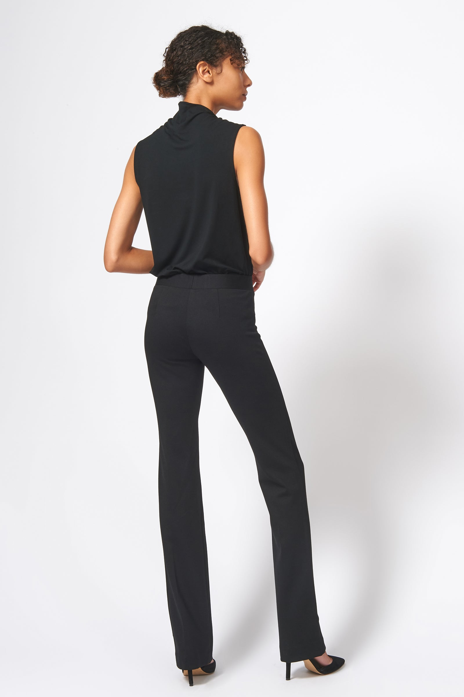 Kal Rieman Pintuck Ponte Column Pant in Black on Model Full Back View