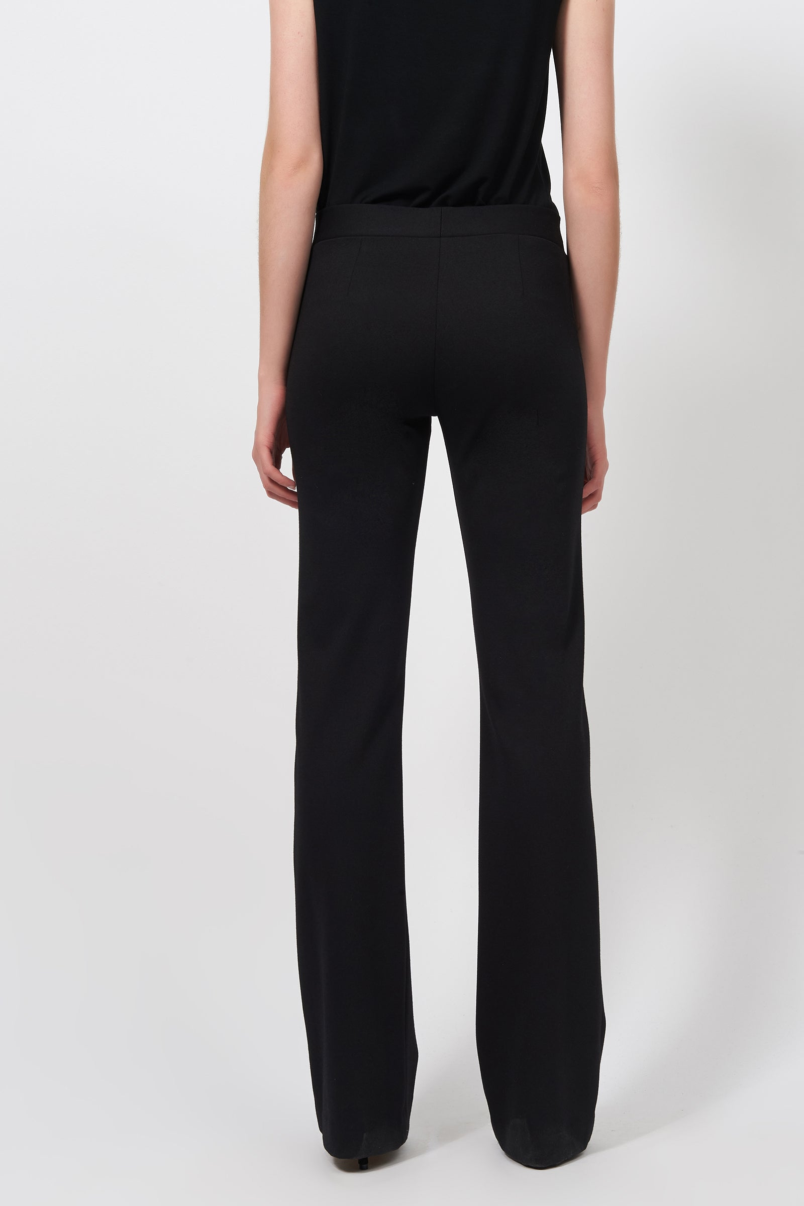 Kal Rieman Pintuck Ponte Column Pant in Black on Model Full Front View