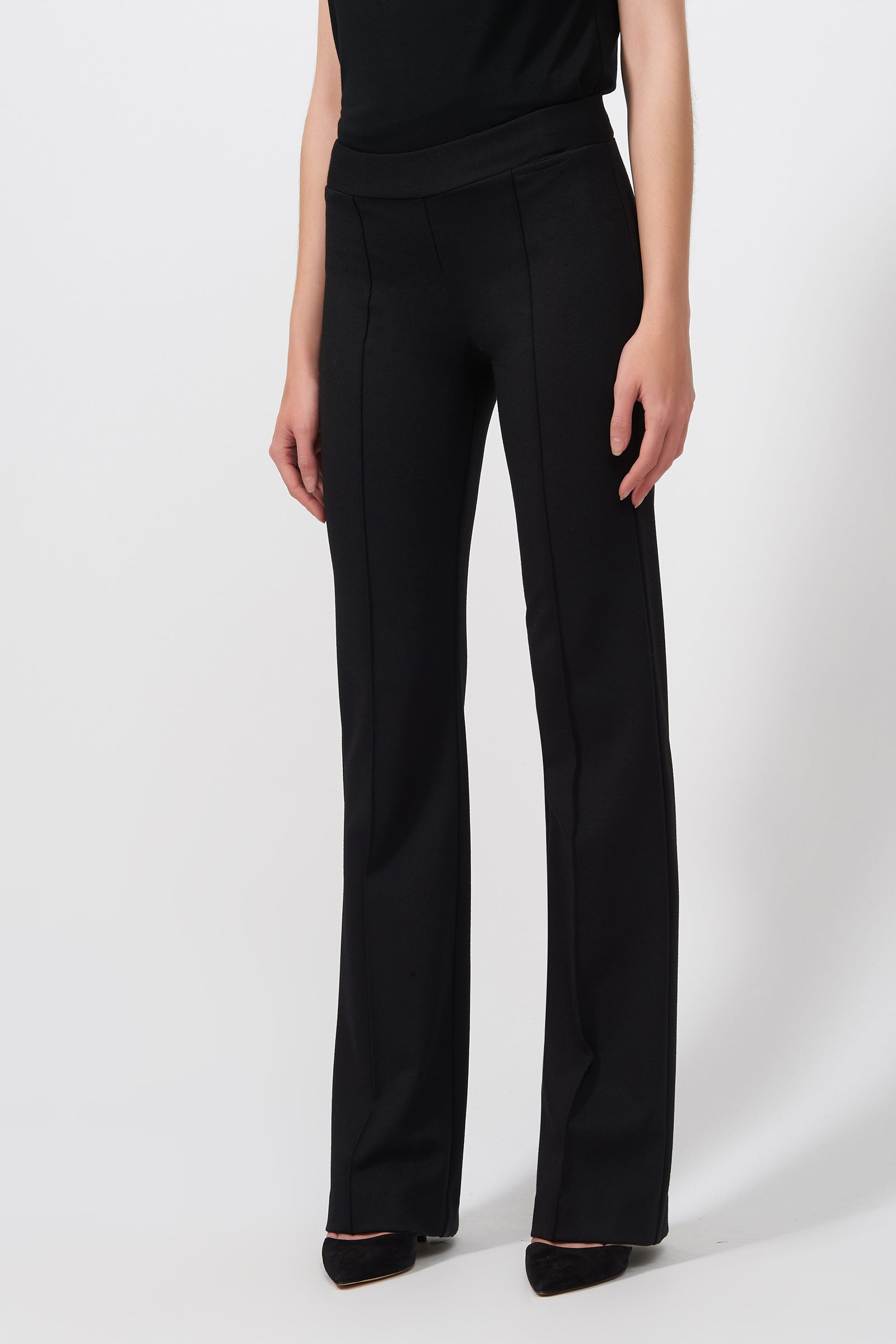 Kal Rieman Pintuck Ponte Column Pant in Black on Model Side View