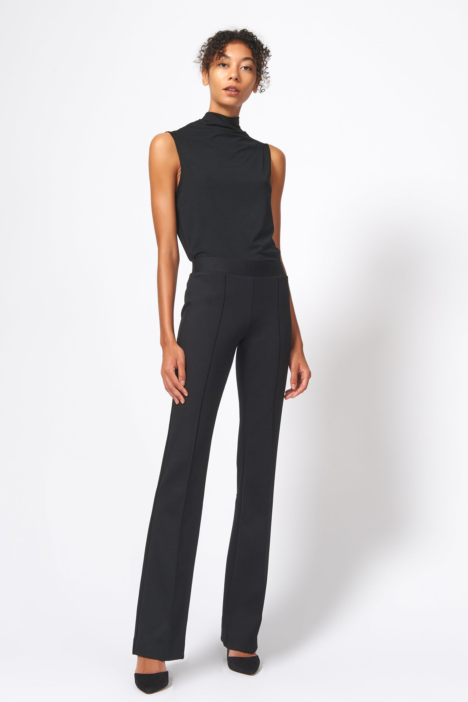 Kal Rieman Pintuck Ponte Column Pant in Black on Model Full Front Alternate View