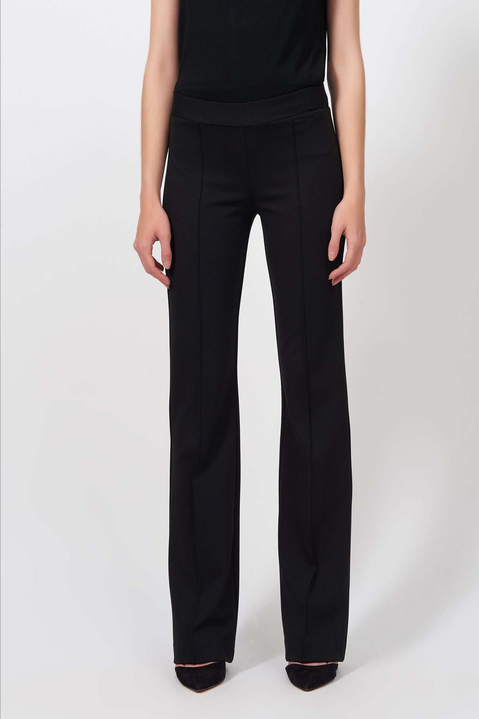 Kal Rieman Pintuck Ponte Column Pant in Black on Model Front View