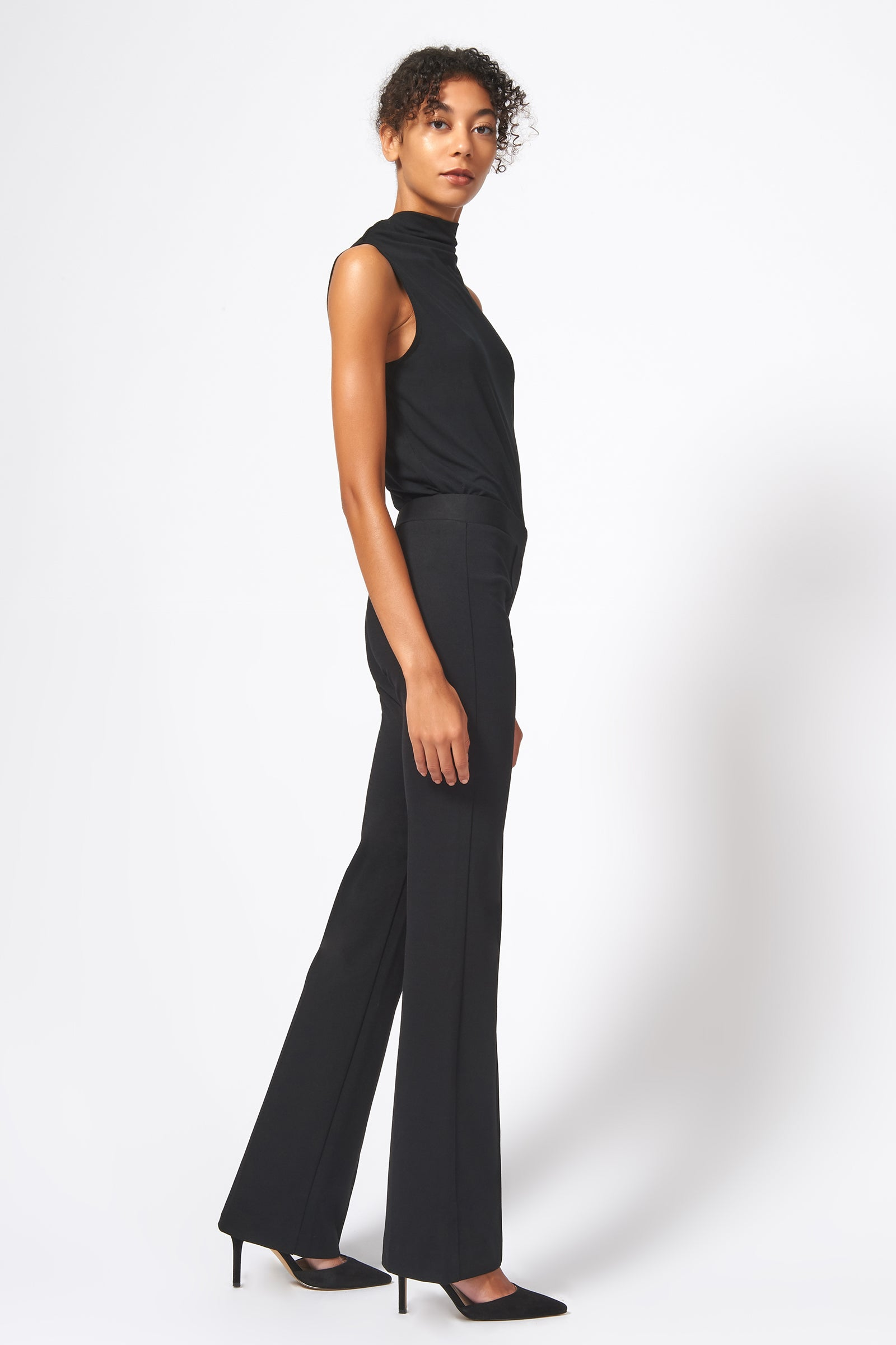 Kal Rieman Pintuck Ponte Column Pant in Black on Model Full Side View