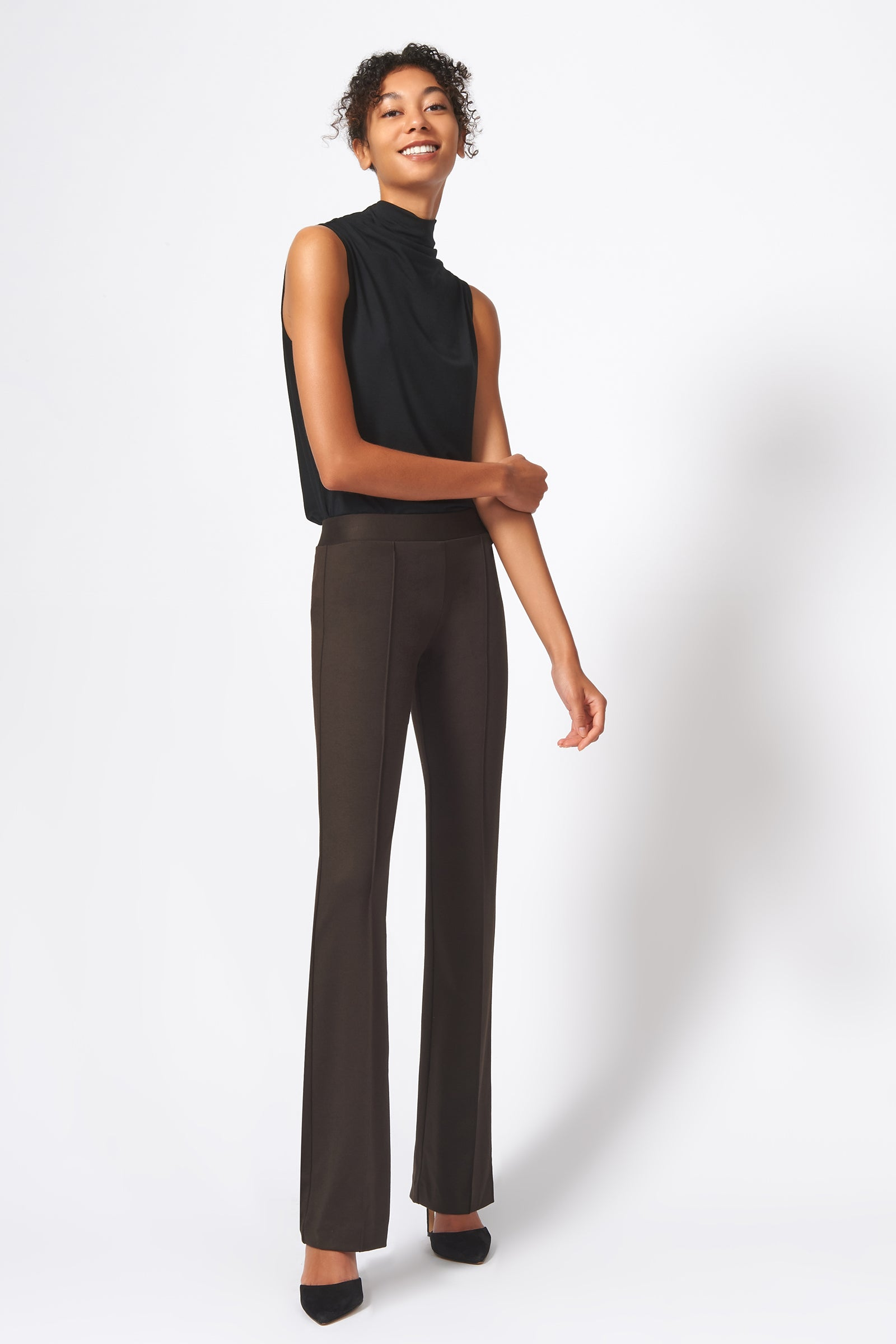 Kal Rieman Pintuck Ponte Column Pant in Espresso on Model Full Front View