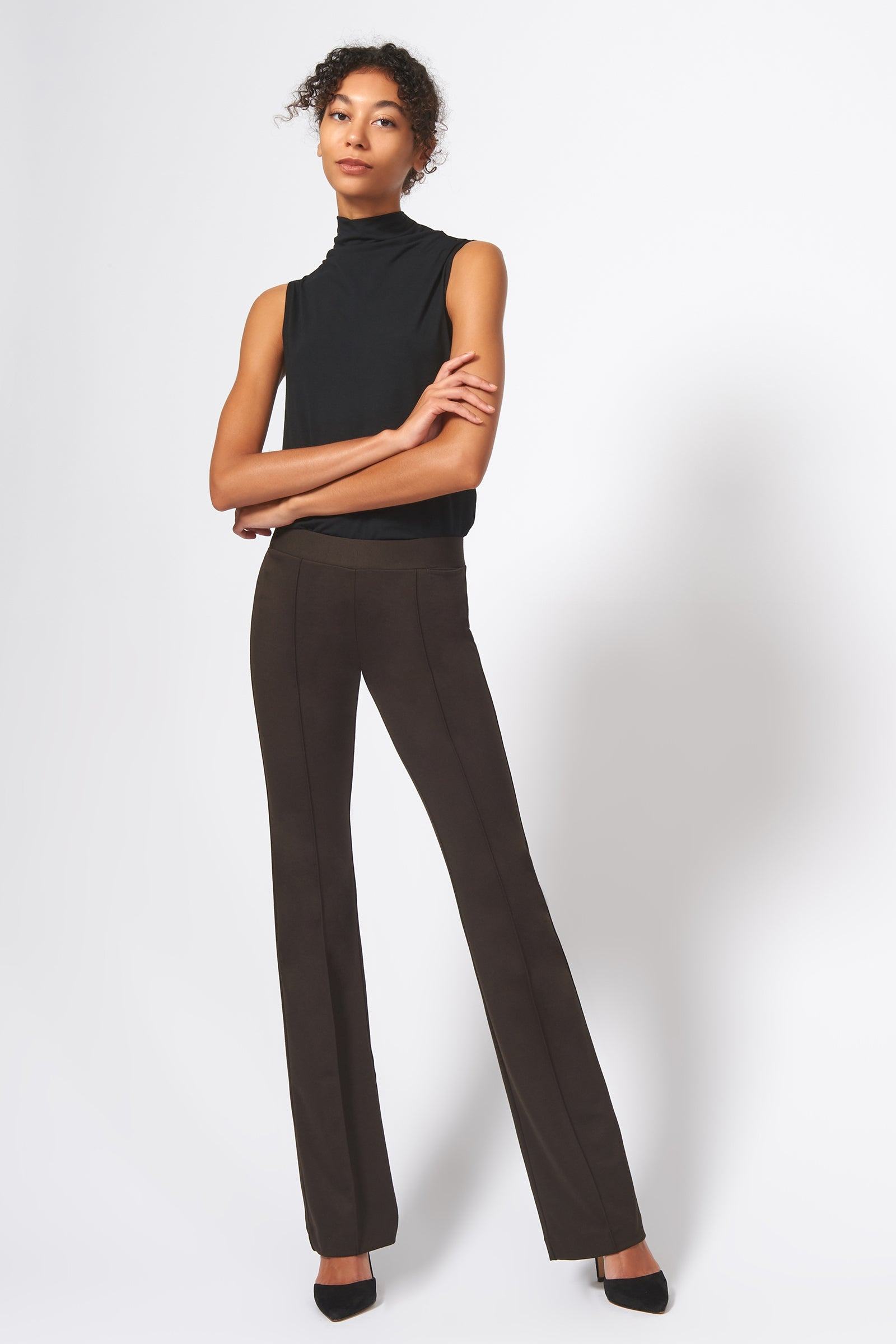 Kal Rieman Pintuck Ponte Column Pant in Espresso on Model Full Front Alternate View