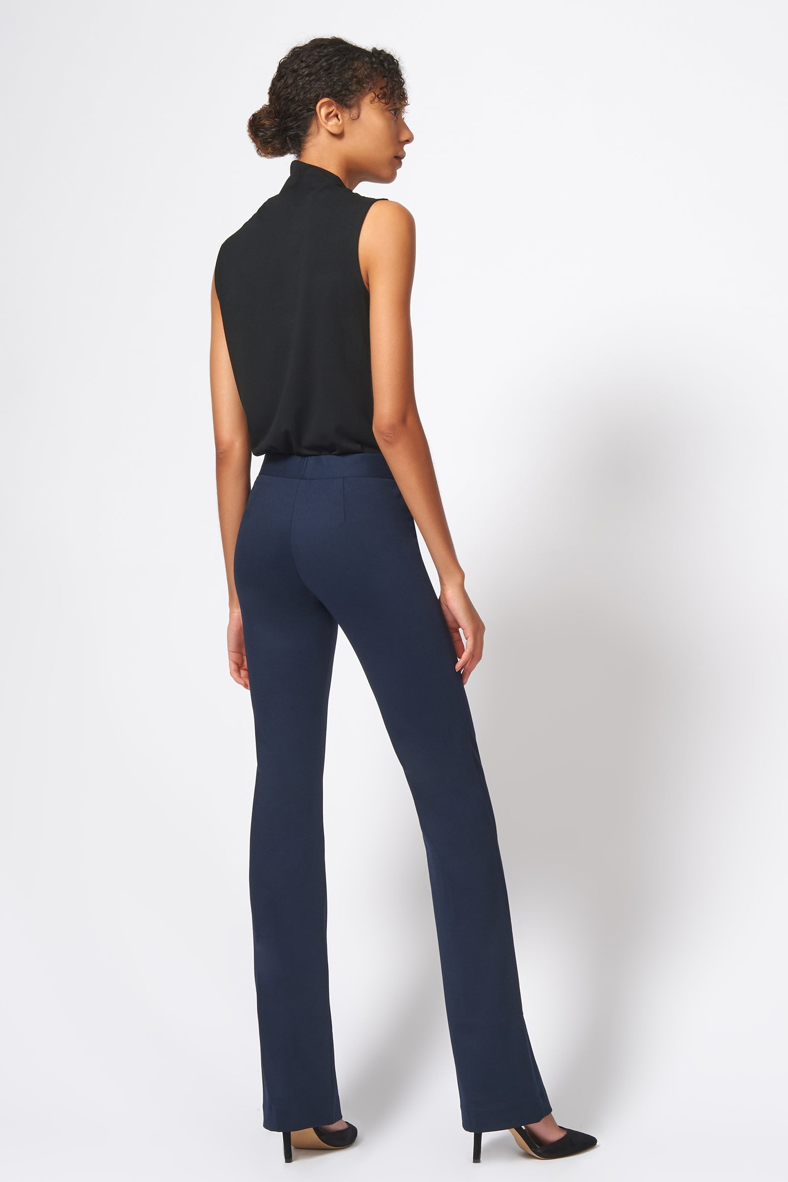Kal Rieman Pintuck Ponte Column Pant in Navy on Model Full Front View