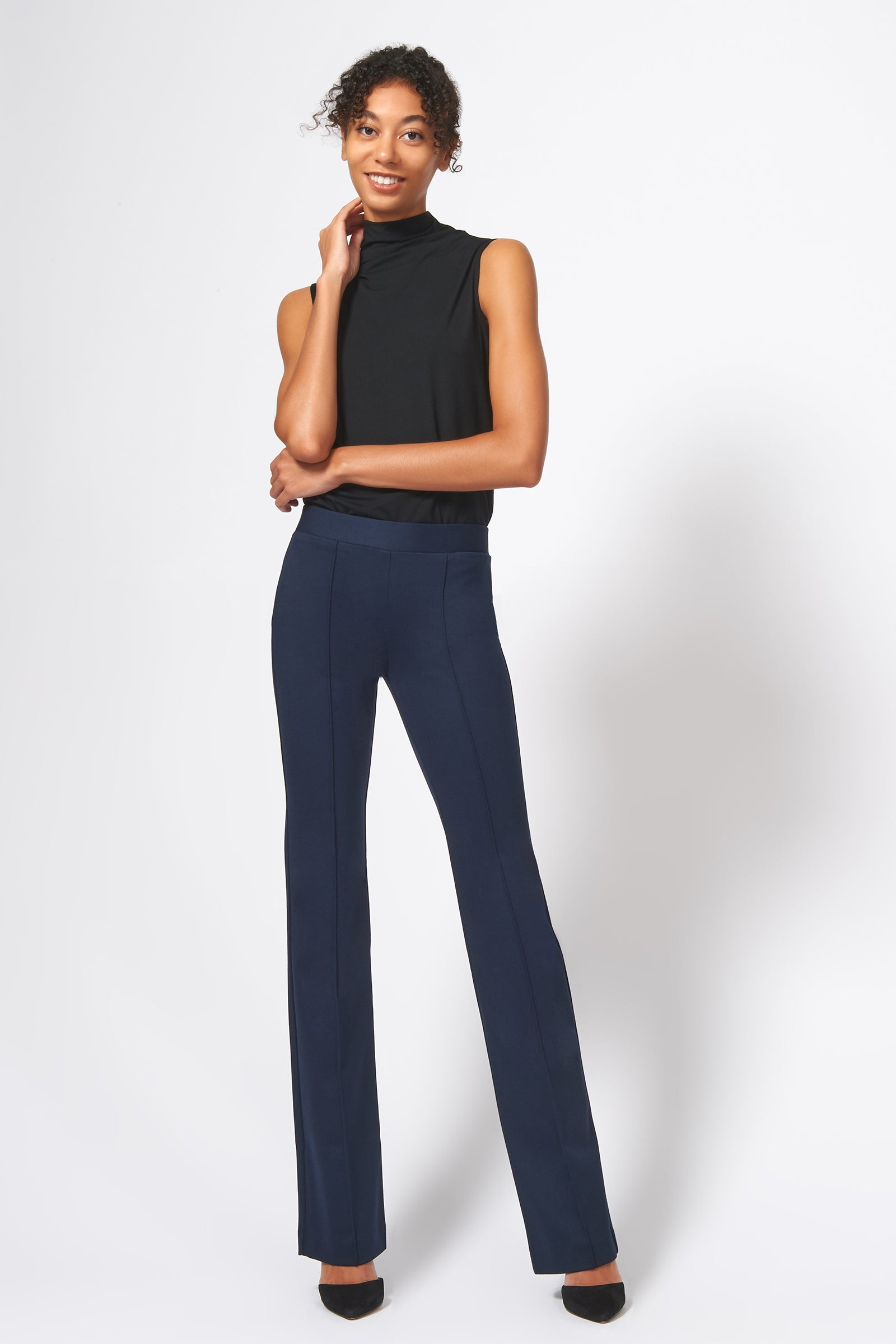 Kal Rieman Pintuck Ponte Column Pant in Navy on Model Full Front Alternate View